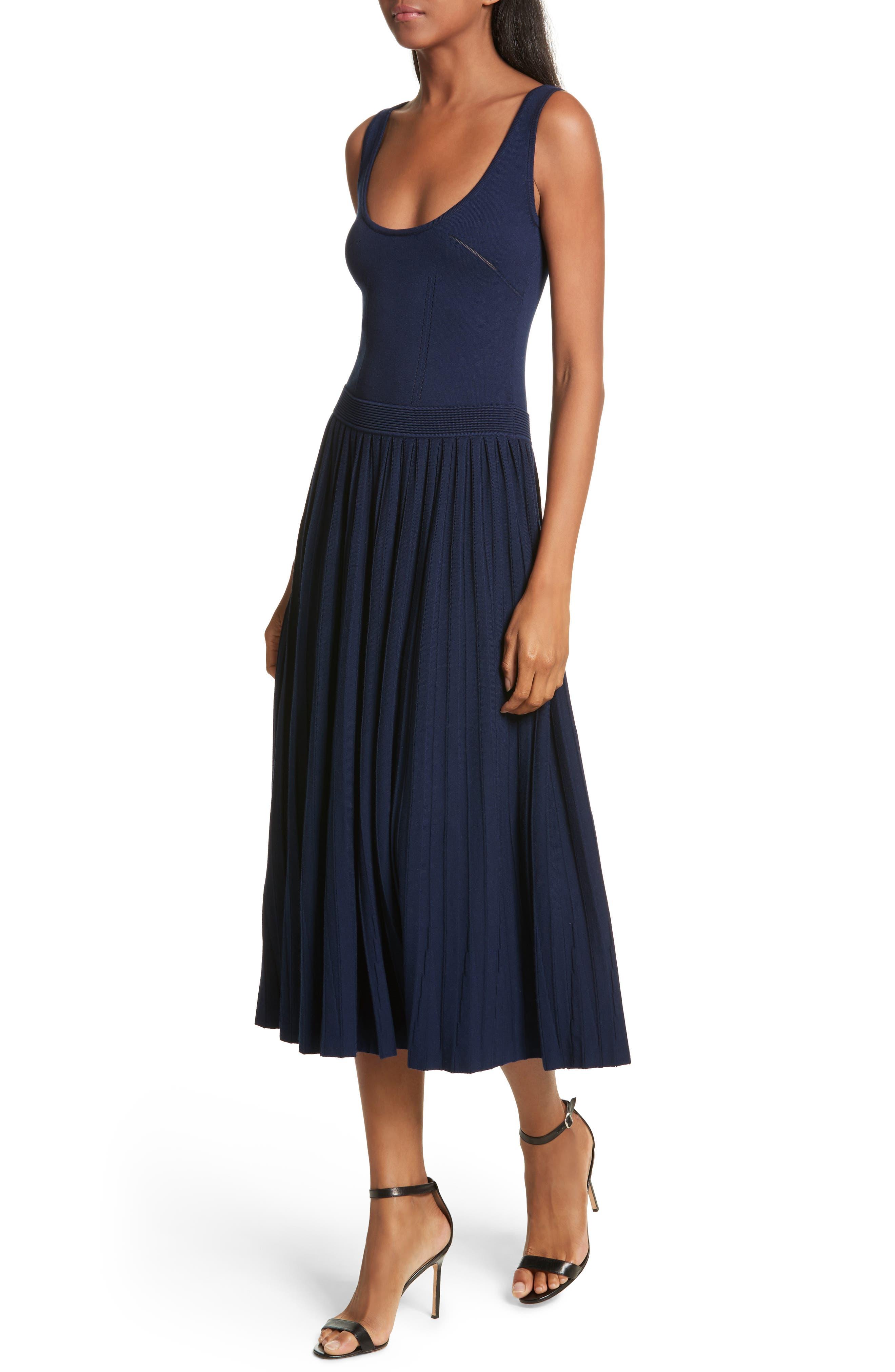 Ballet Neck Midi Dress,                             Alternate thumbnail 4, color,                             Navy