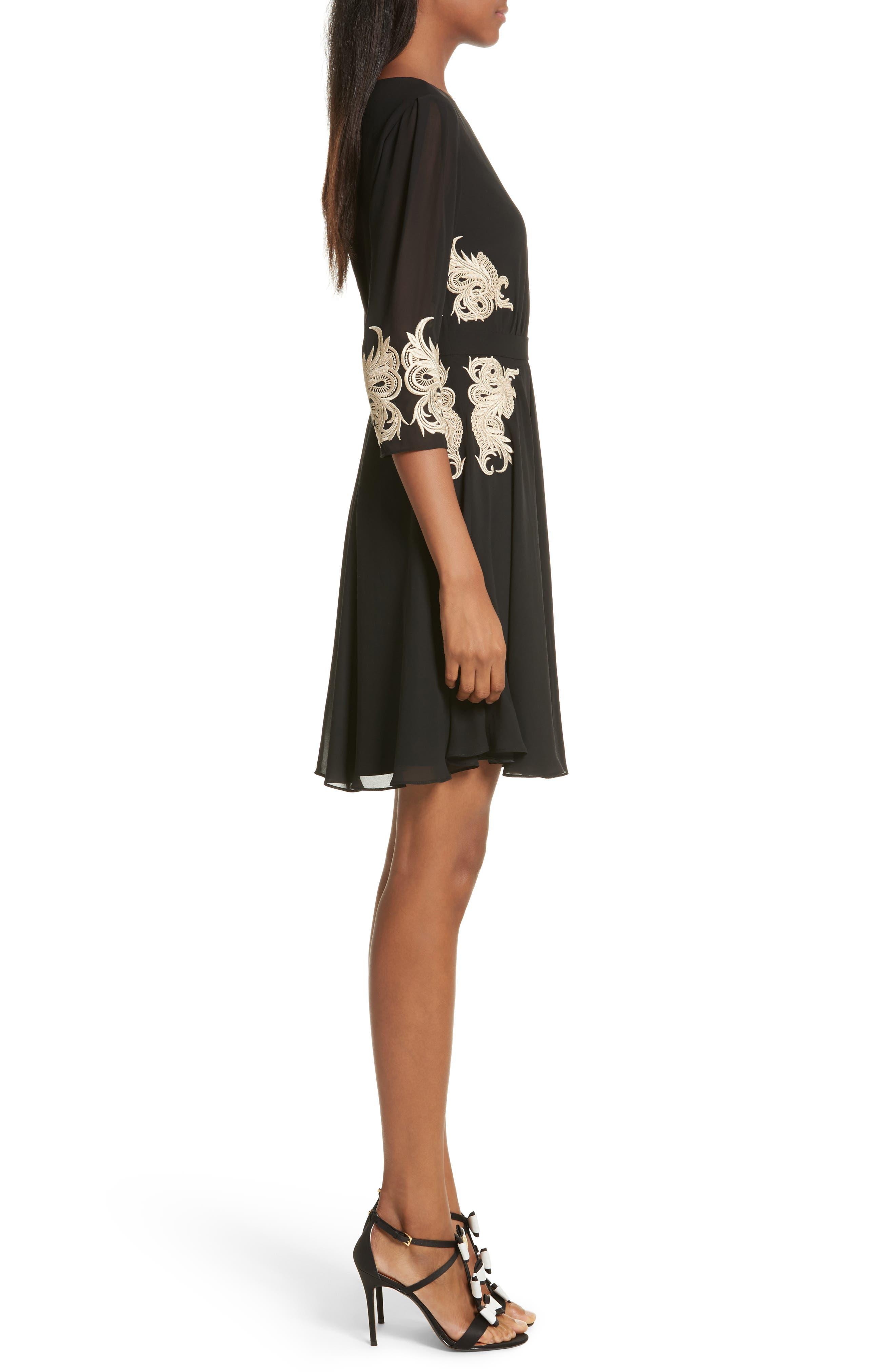 Gaenor Embroidered Fit & Flare Dress,                             Alternate thumbnail 3, color,                             Black