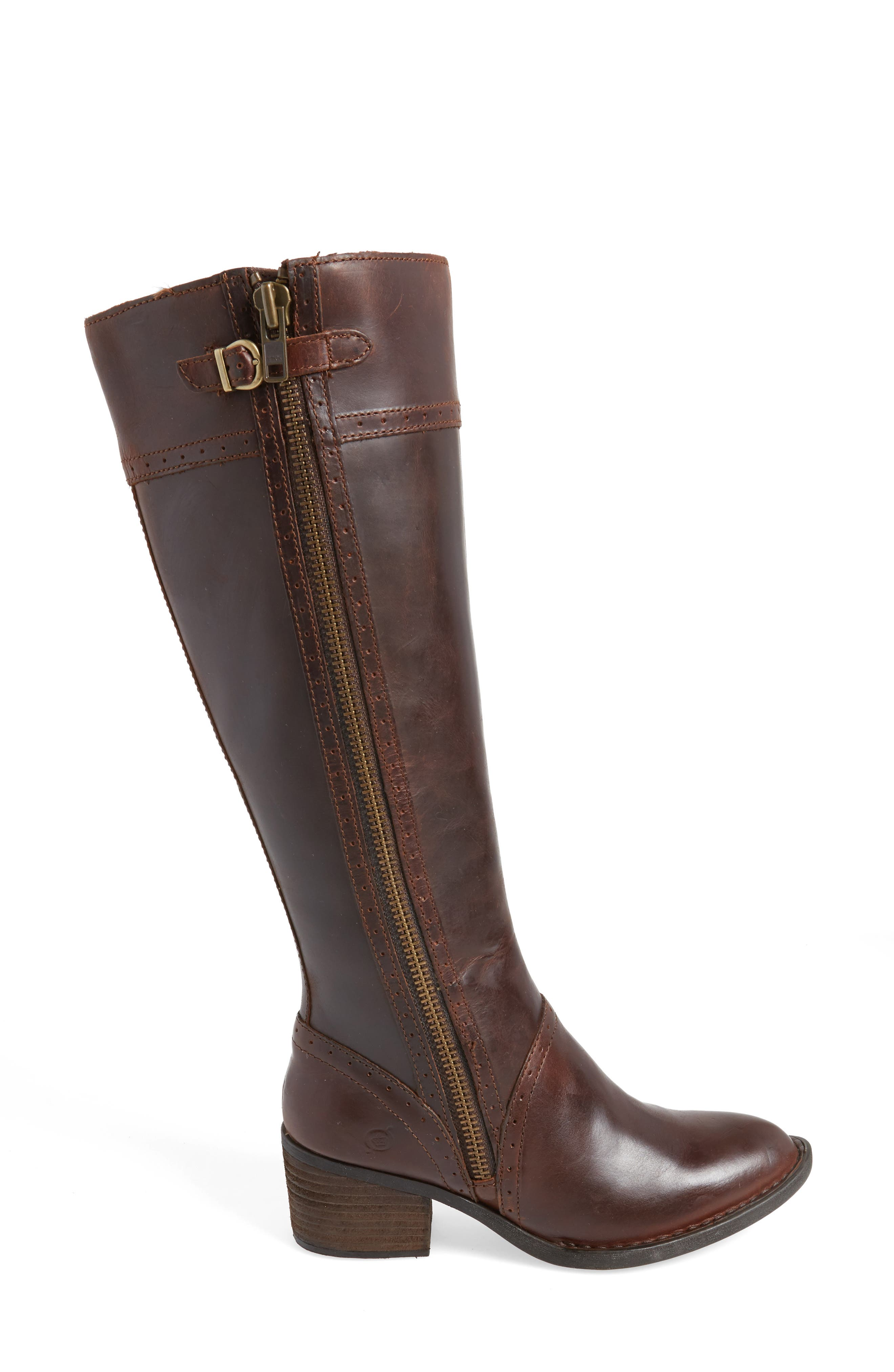 Poly Riding Boot,                             Alternate thumbnail 3, color,                             Brown Full Grain Leather