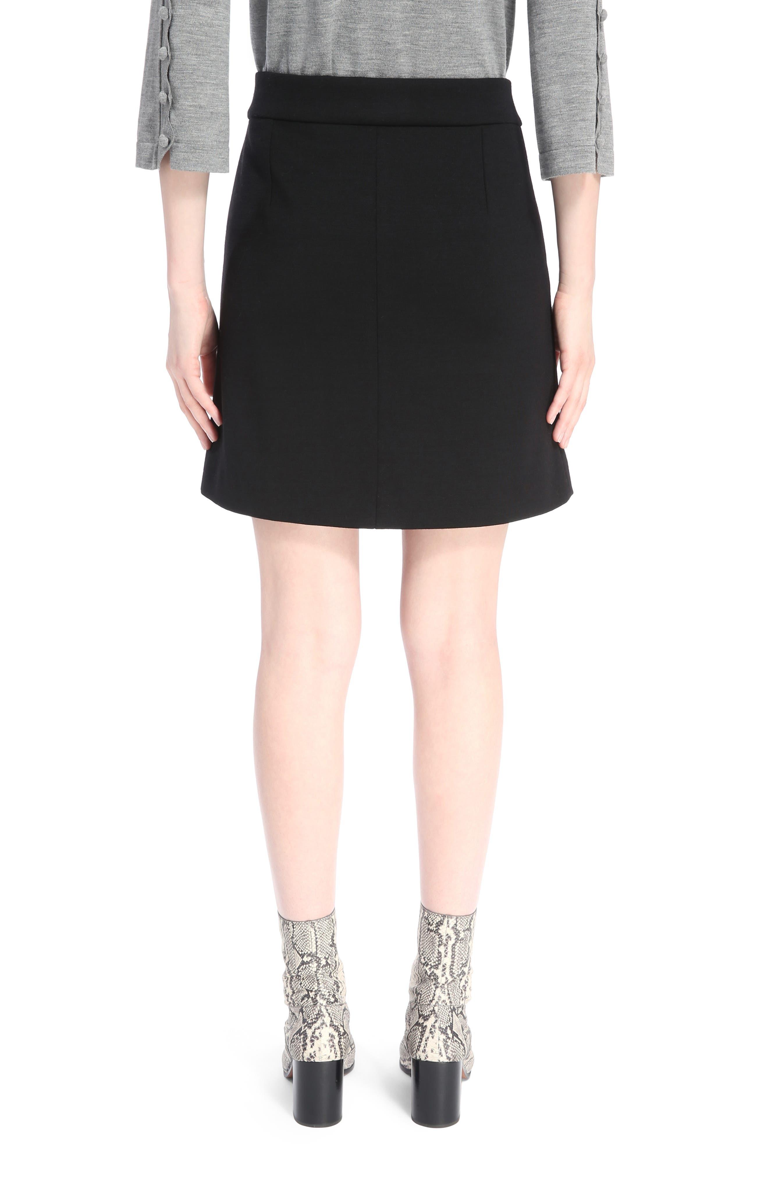 Button Detail Wool Knit Skirt,                             Alternate thumbnail 3, color,                             Black