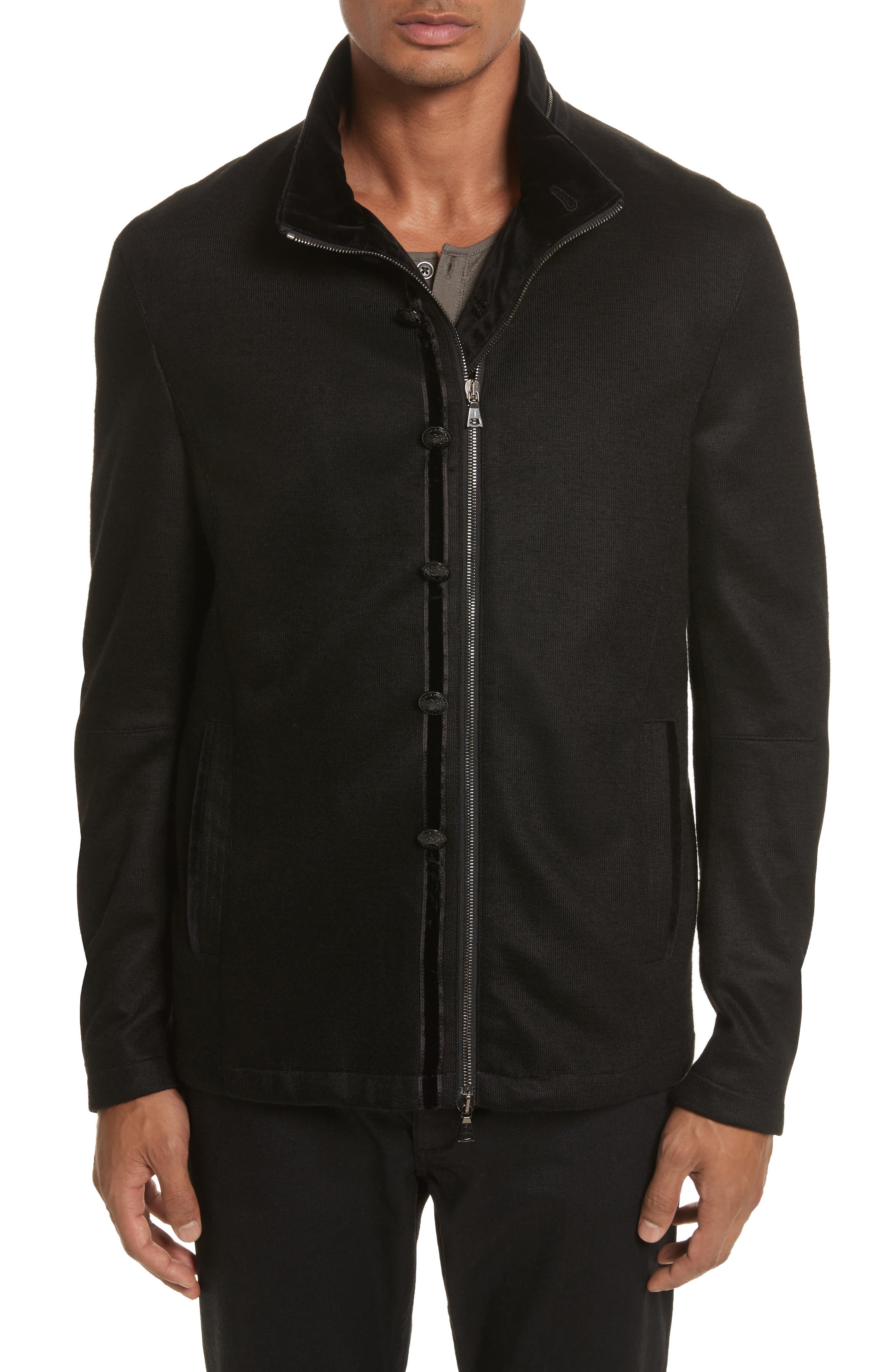 Cotton & Wool Jacket,                         Main,                         color, Black