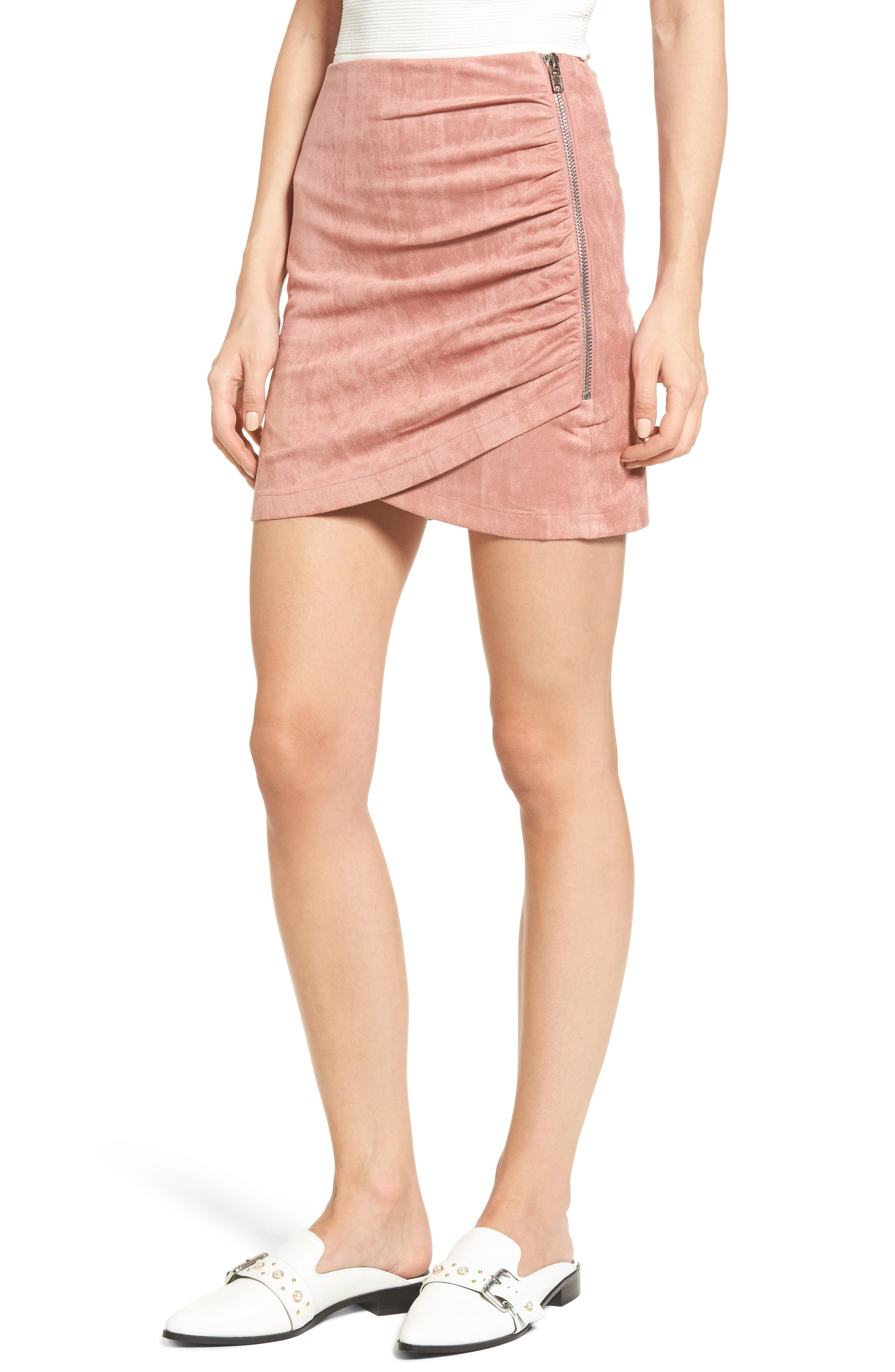 Soprano Ruched Faux Suede Miniskirt