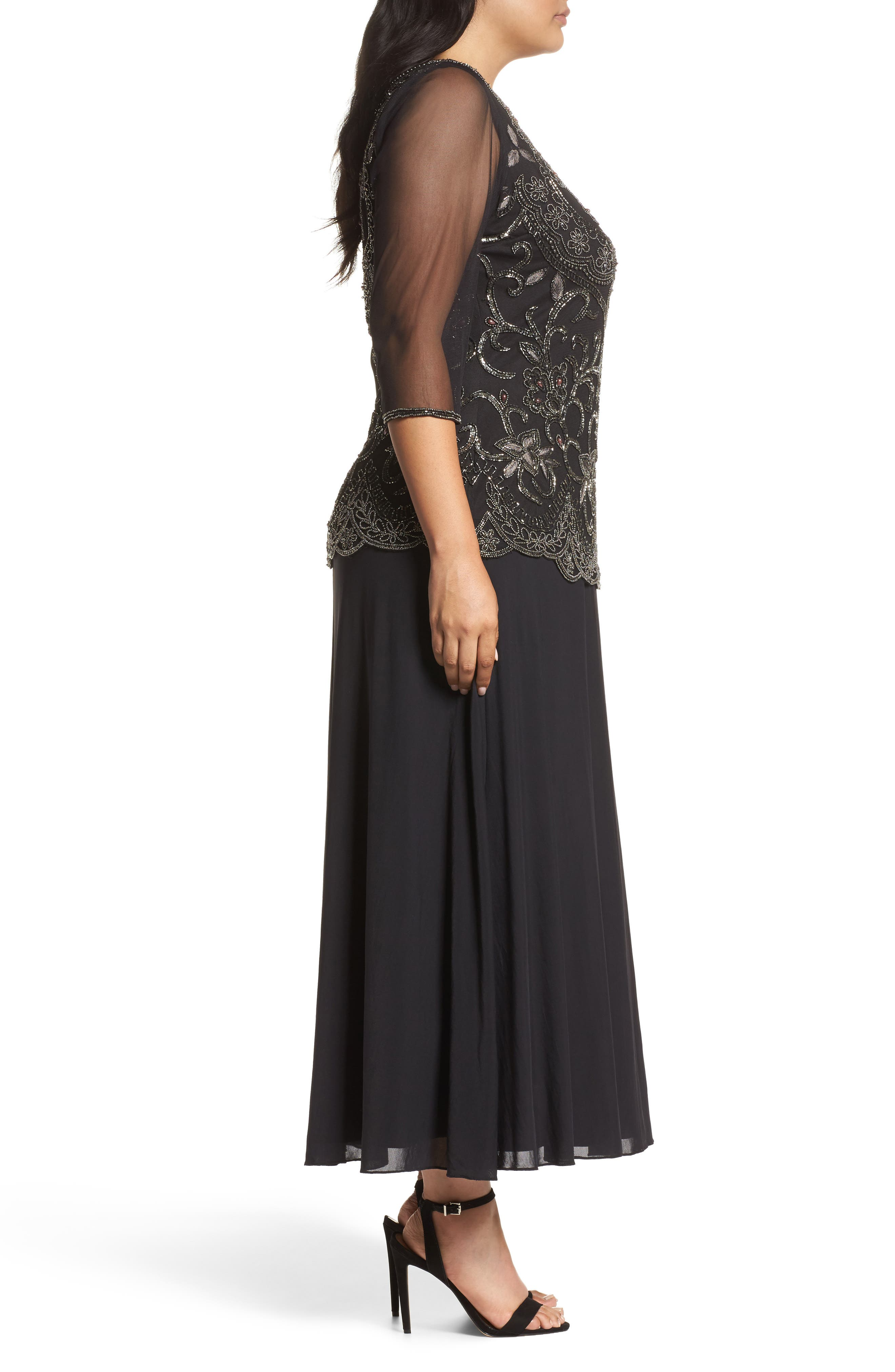 Embellished Mock Two-Piece Gown,                             Alternate thumbnail 3, color,                             Black