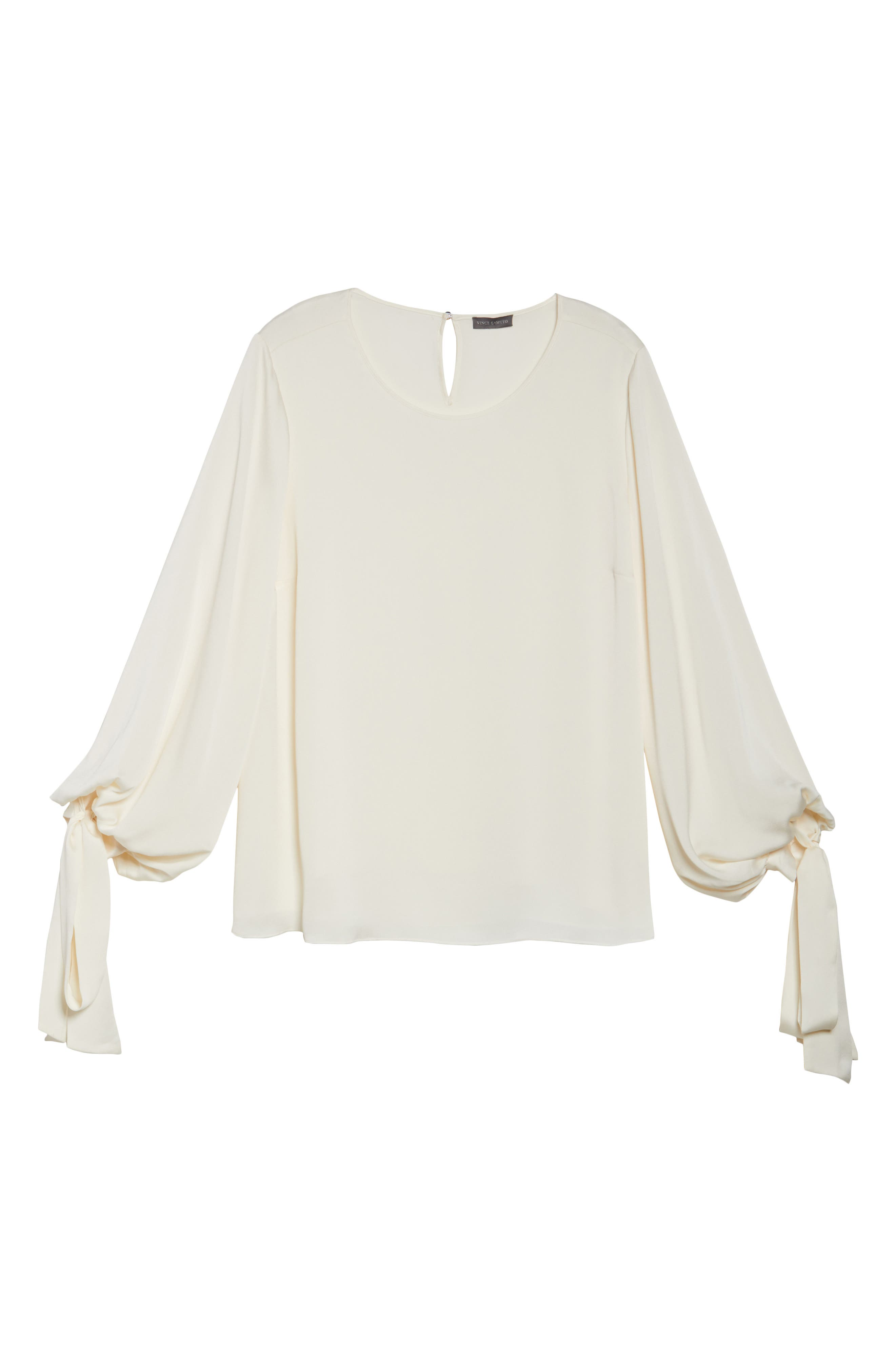 Tie Cuff Bubble Sleeve Blouse,                             Alternate thumbnail 6, color,                             Pearl Ivory