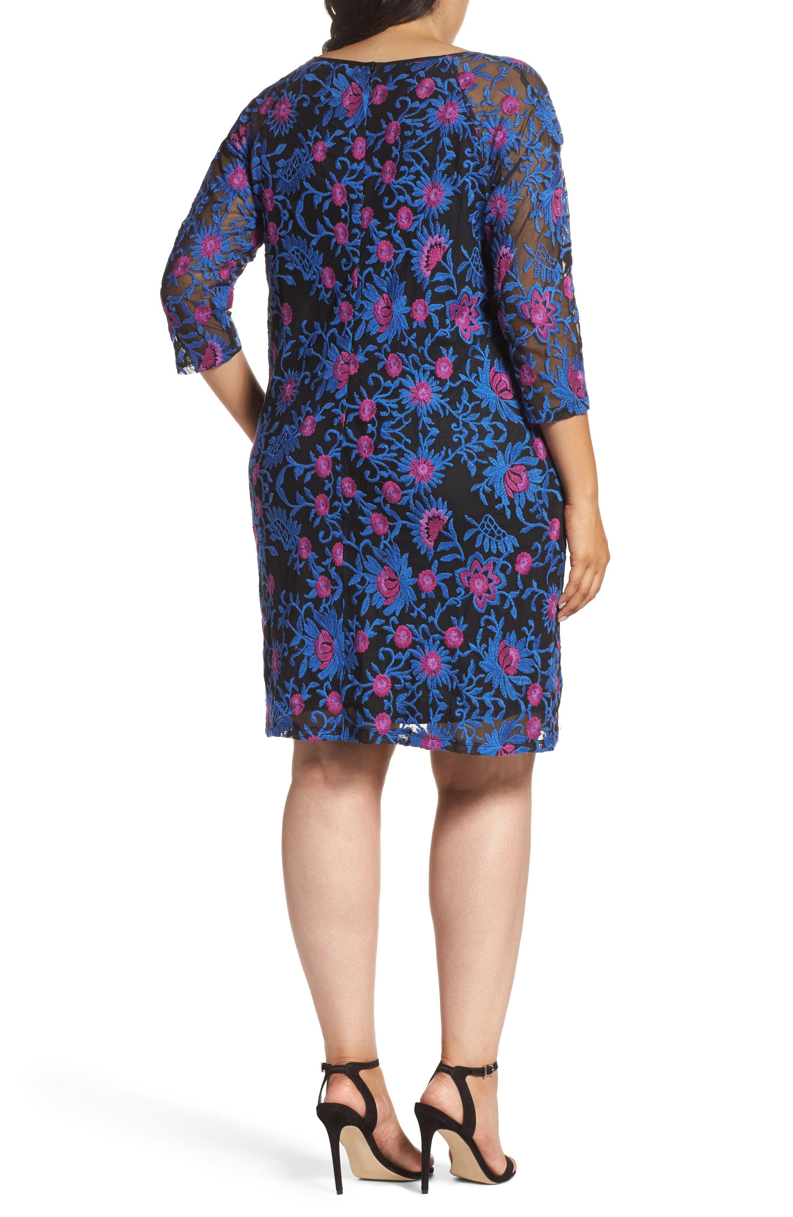 Marrakesh Embroidered Trapeze Dress,                             Alternate thumbnail 2, color,                             Blue Multi