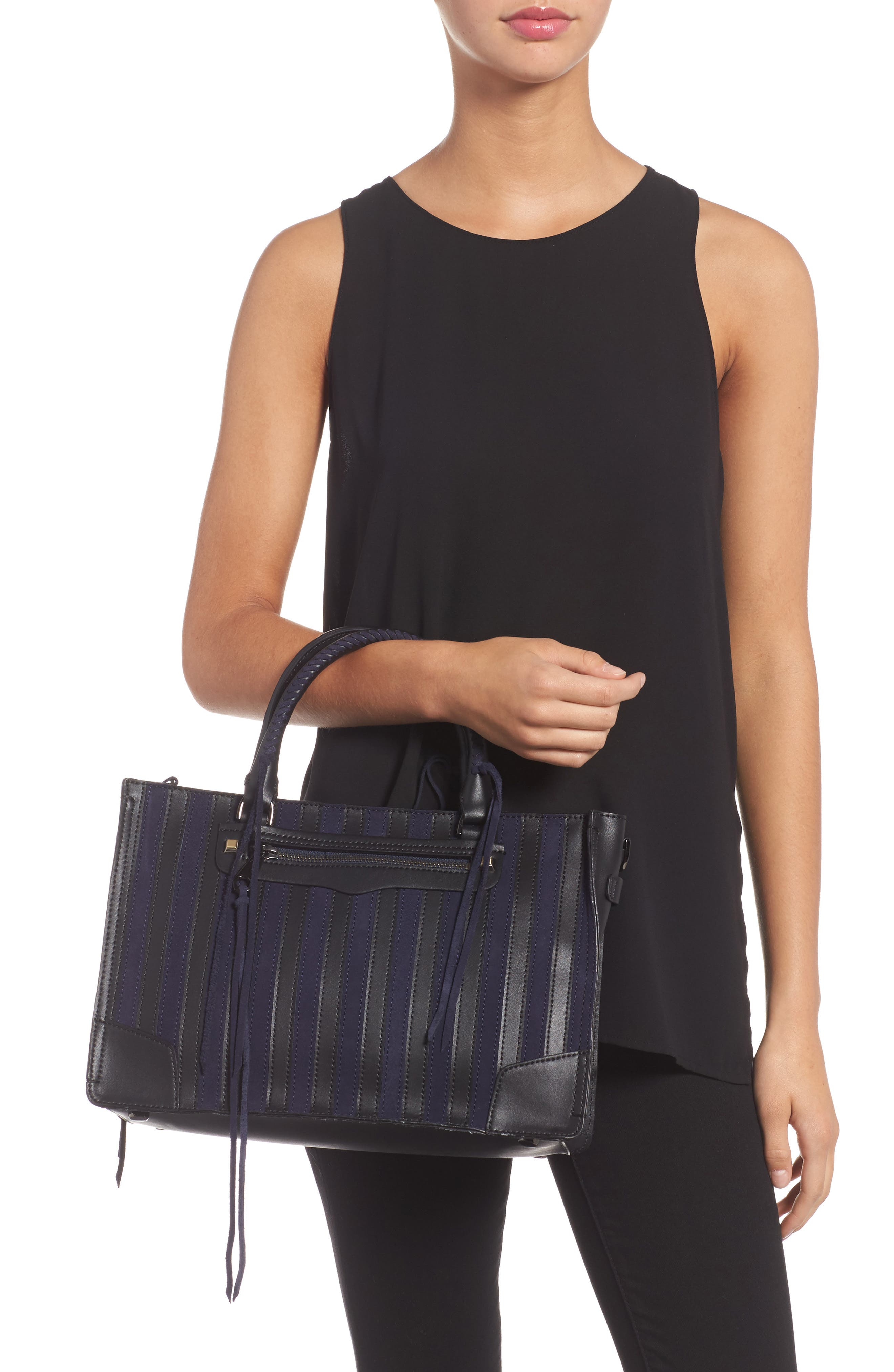 Alternate Image 2  - Rebecca Minkoff Regan Stripe Leather & Suede Top Handle Satchel