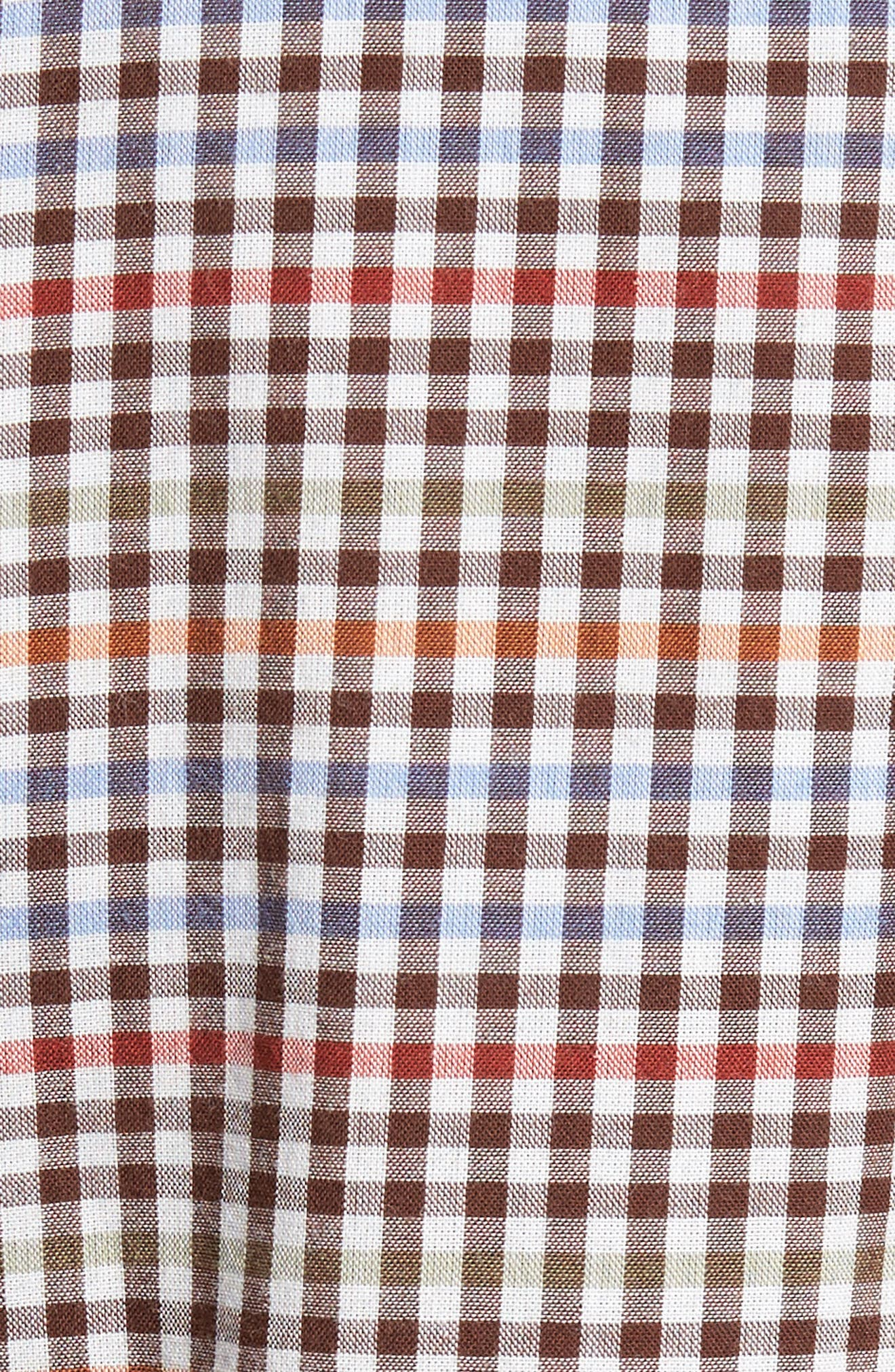 Tan Tan Regular Fit Check Sport Shirt,                             Alternate thumbnail 5, color,                             Vapor