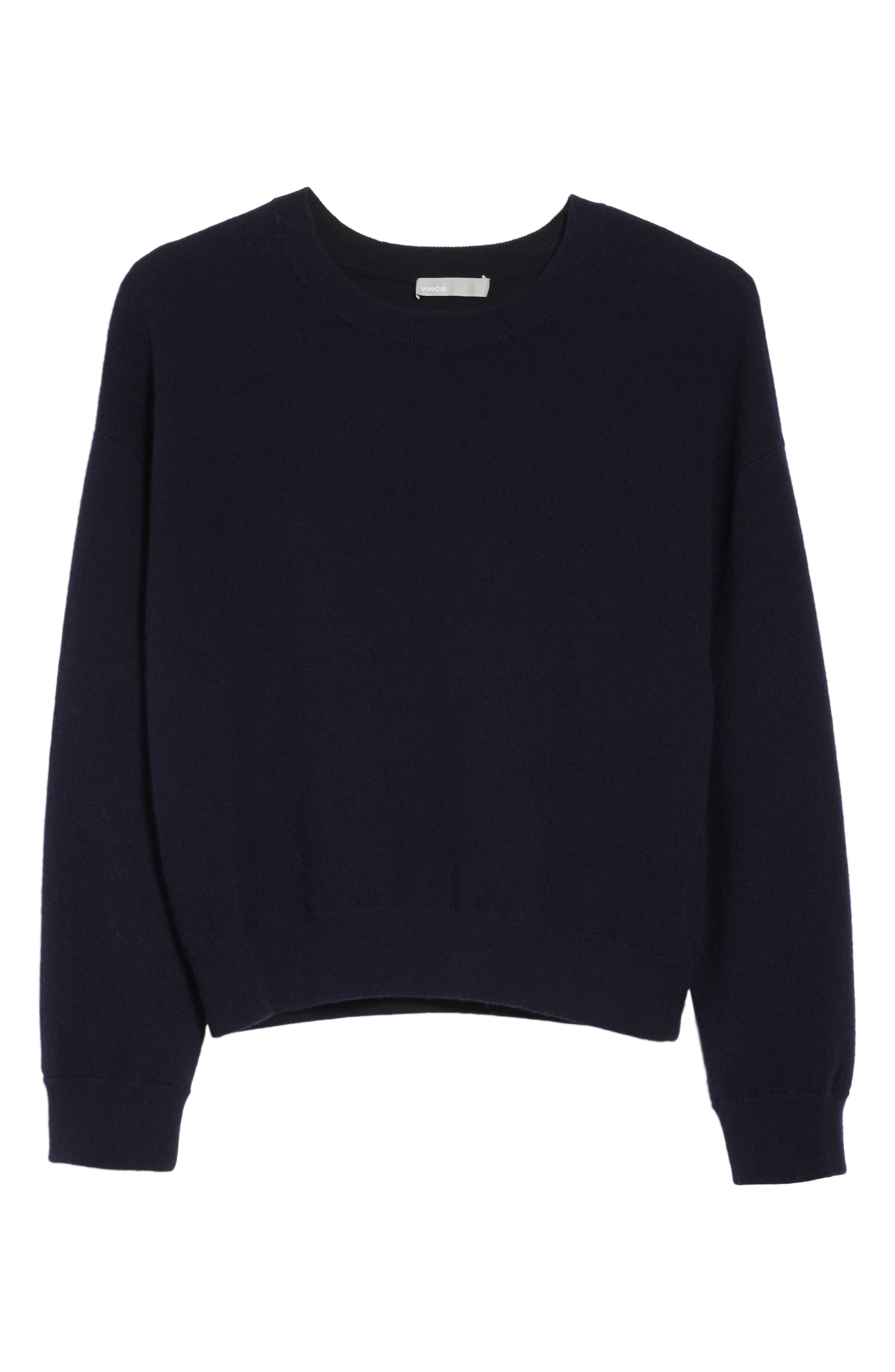 Double Layer Cashmere & Cotton Sweater,                             Alternate thumbnail 6, color,                             Coastal/ Black