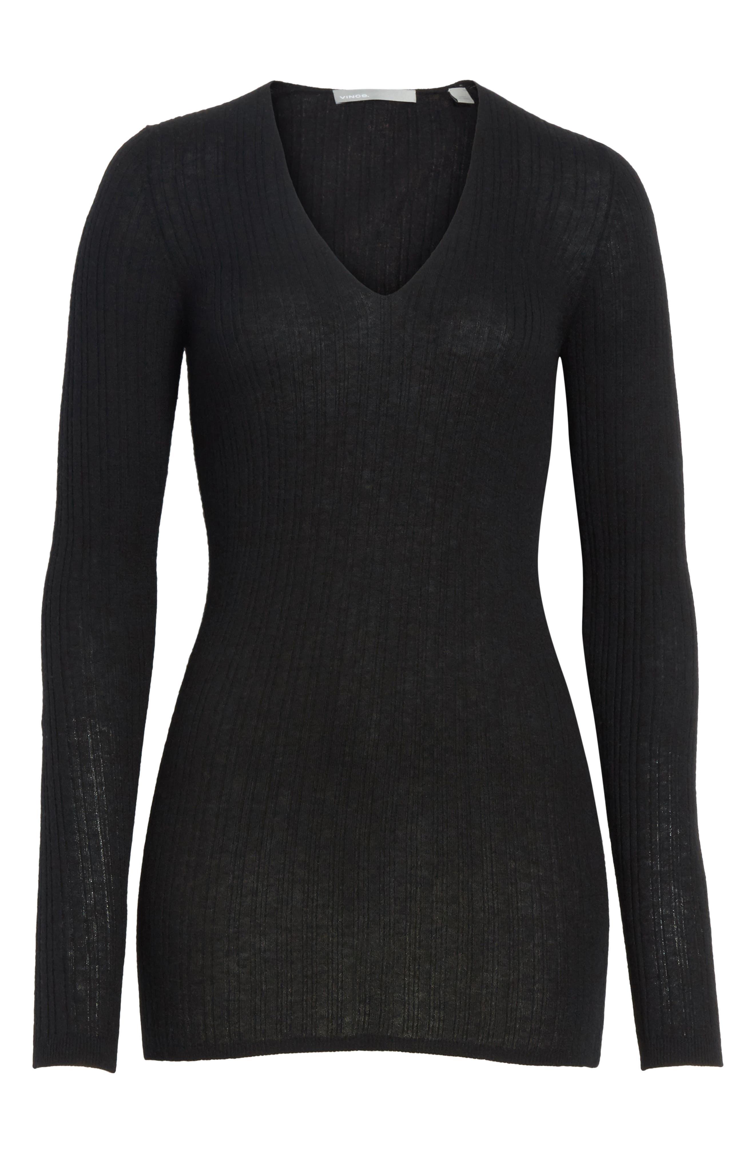 Alternate Image 6  - Vince Ribbed Cashmere V-Neck Sweater