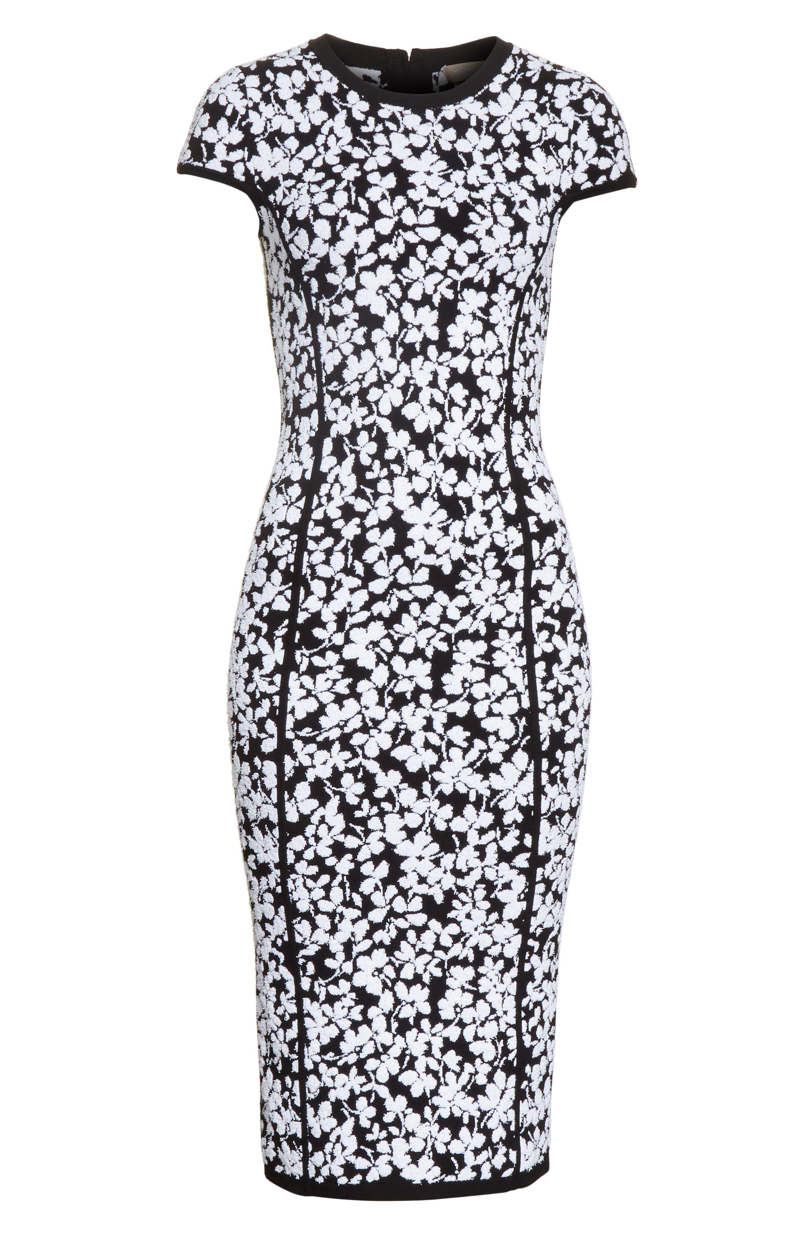 Floral Jacquard Sheath Dress,                             Alternate thumbnail 7, color,                             Black