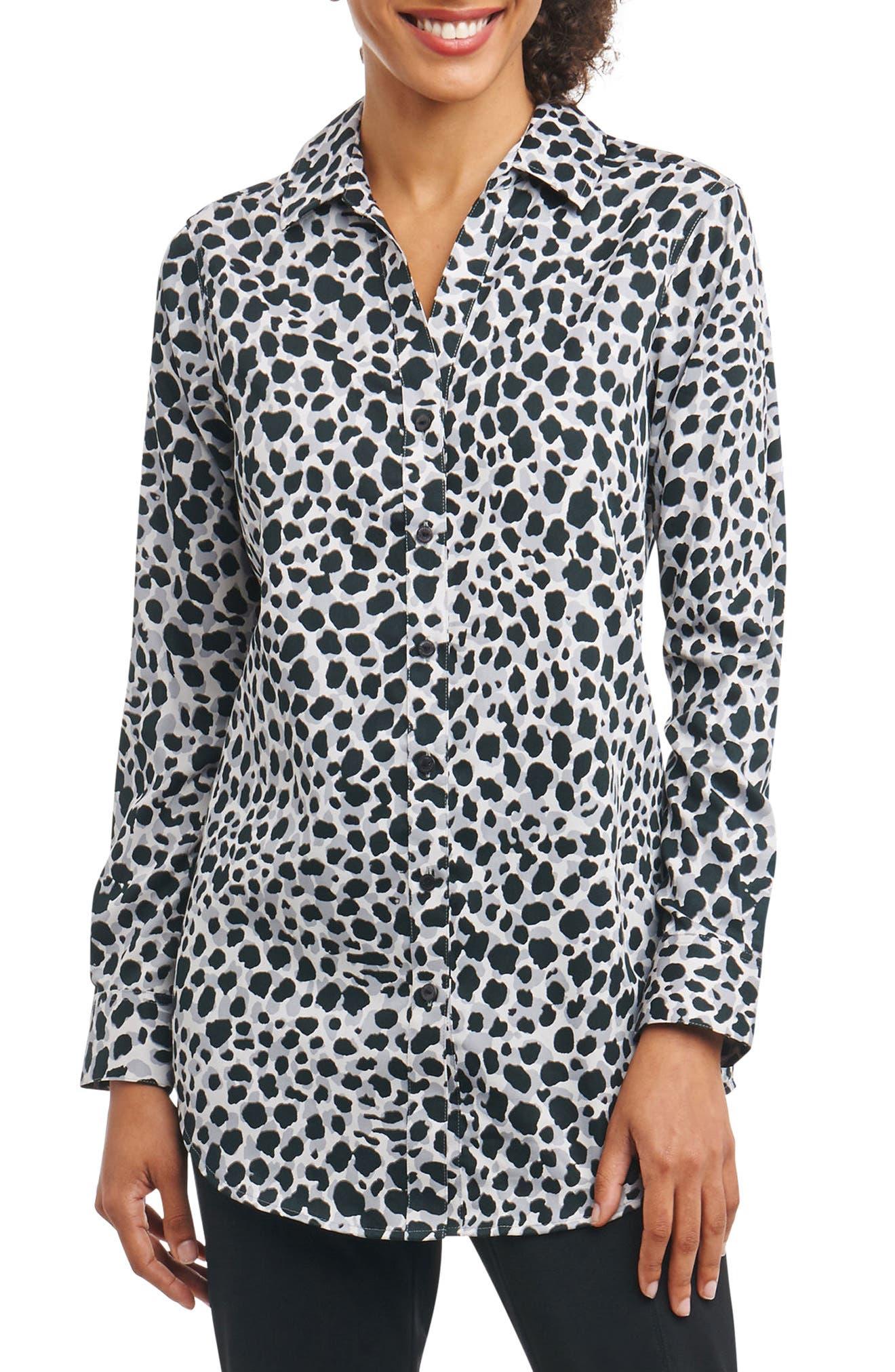 Fay Animal Print Shirt,                         Main,                         color, Silver Animal