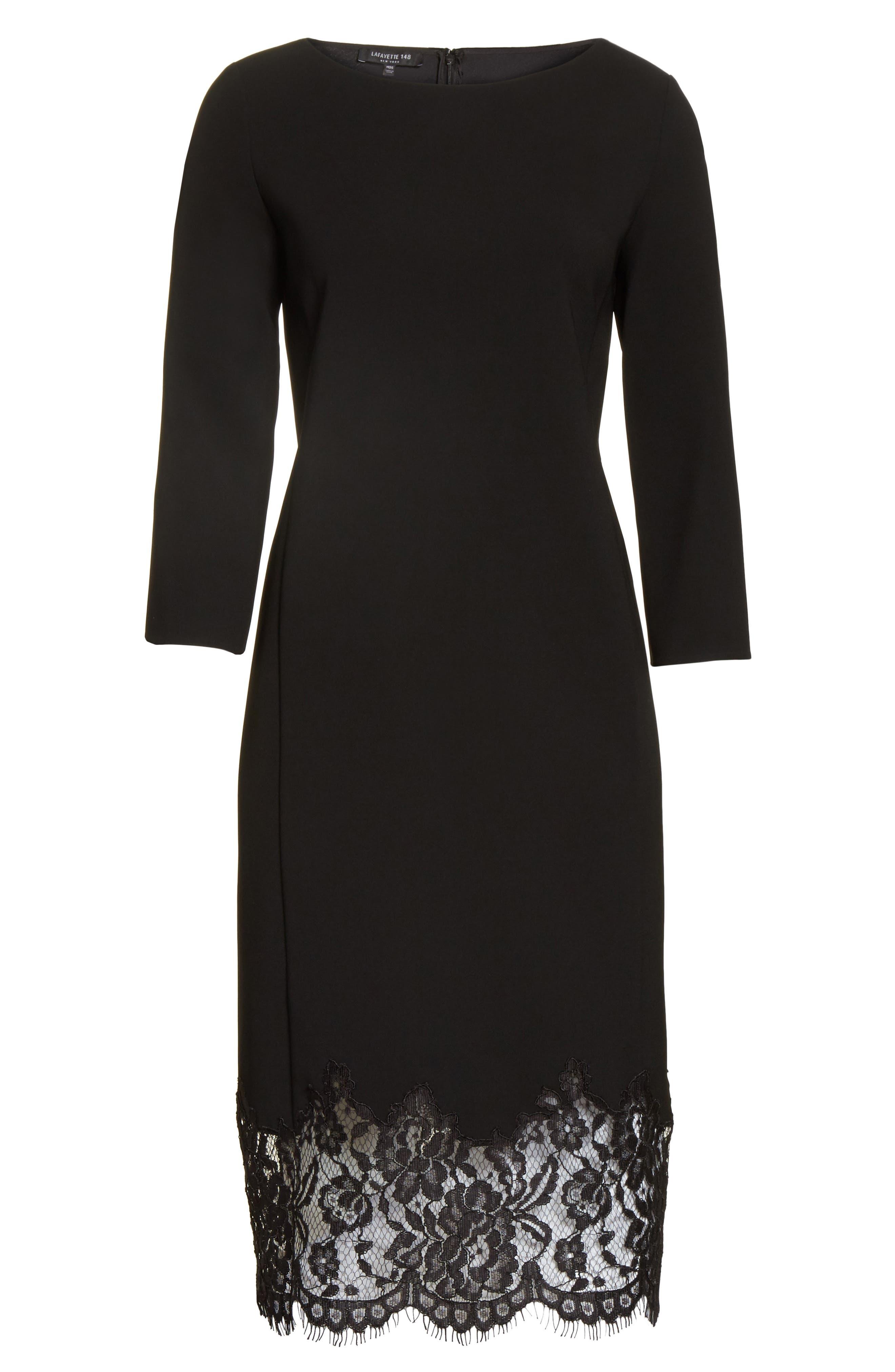Mya Lace Hem Dress,                             Alternate thumbnail 8, color,                             Black