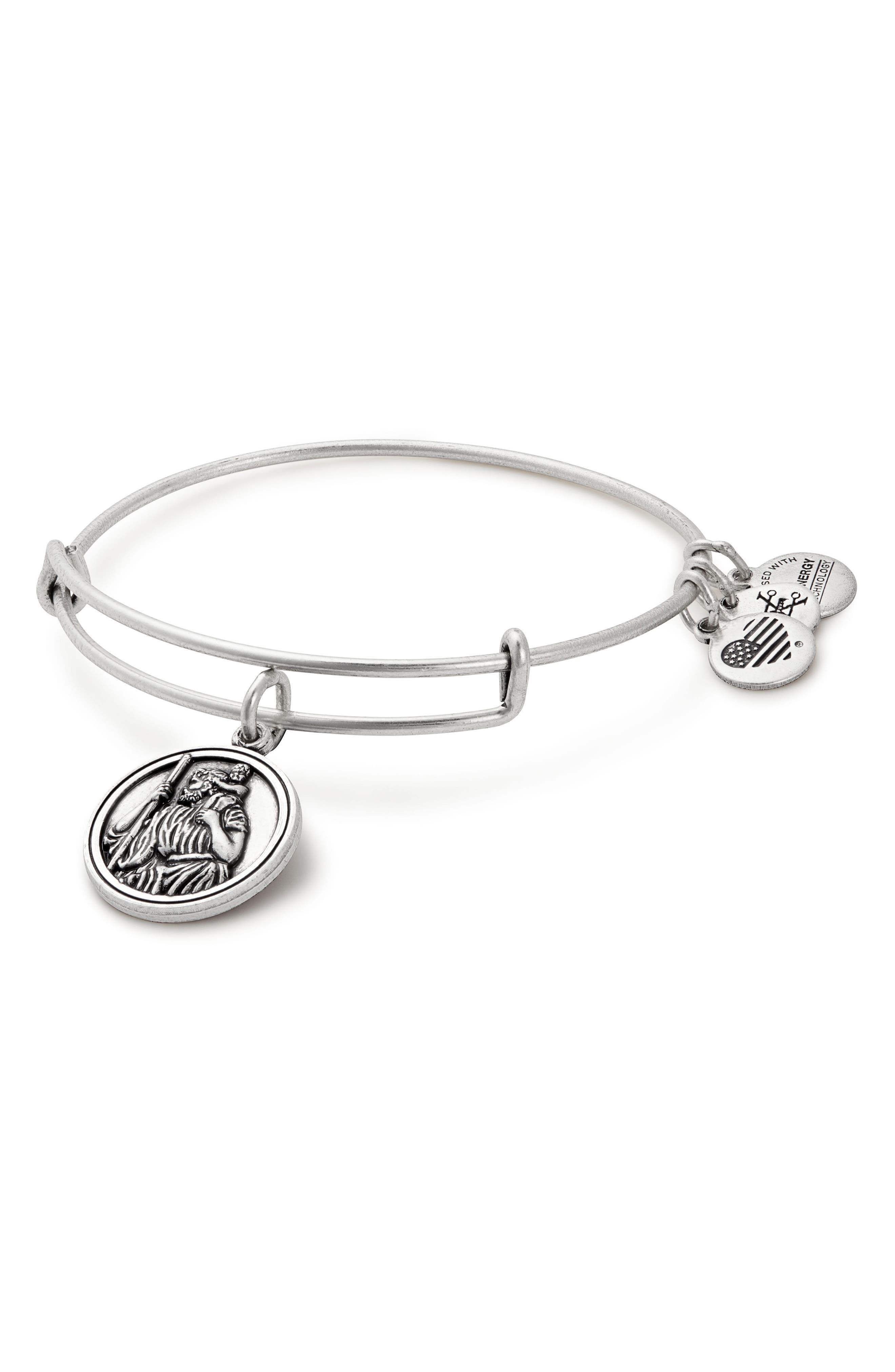 St. Christopher Adjustable Wire Bangle,                             Main thumbnail 1, color,                             Silver