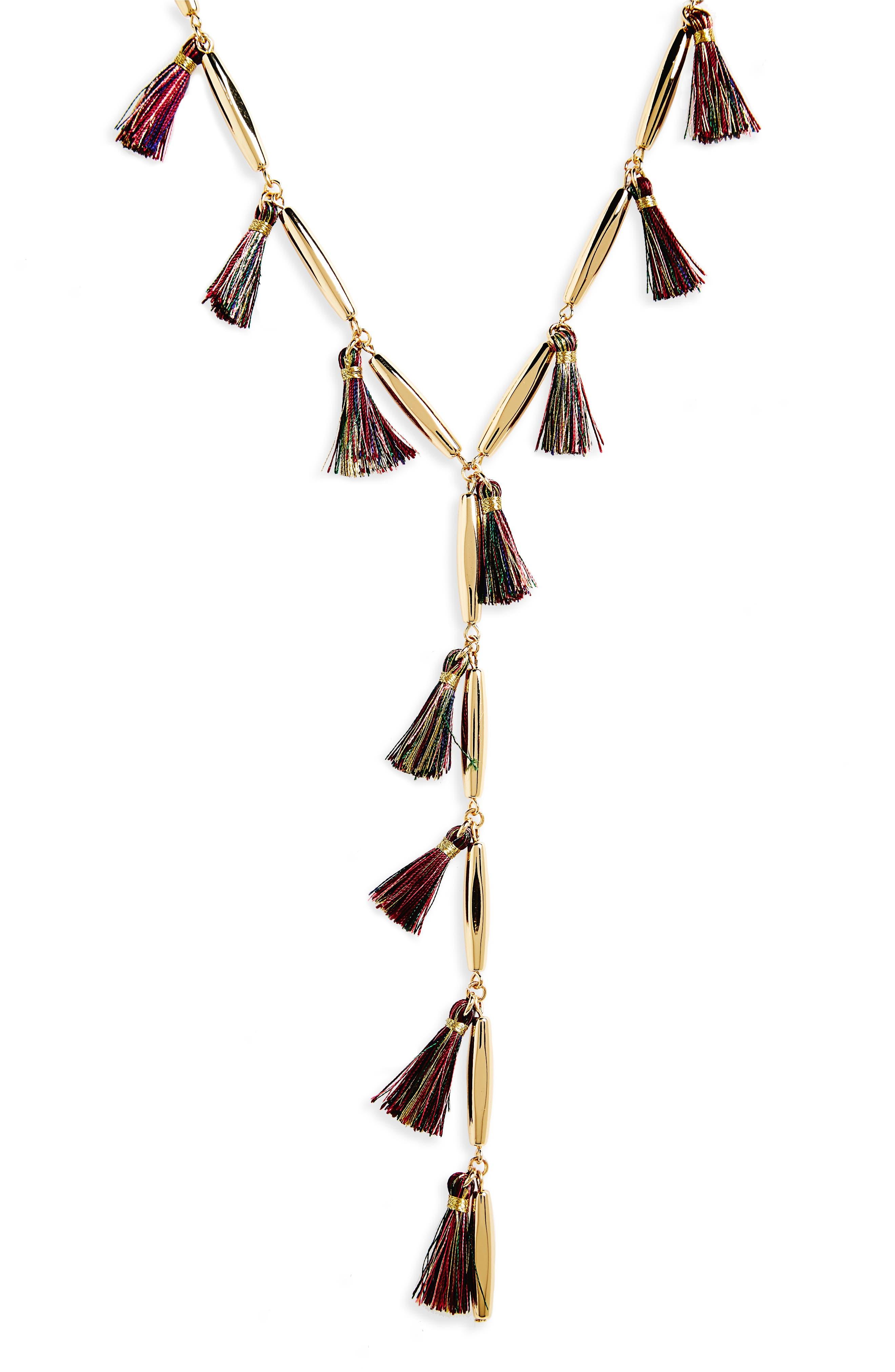 Tassel Y-Necklace,                             Alternate thumbnail 2, color,                             Gold/ Multi Tassels