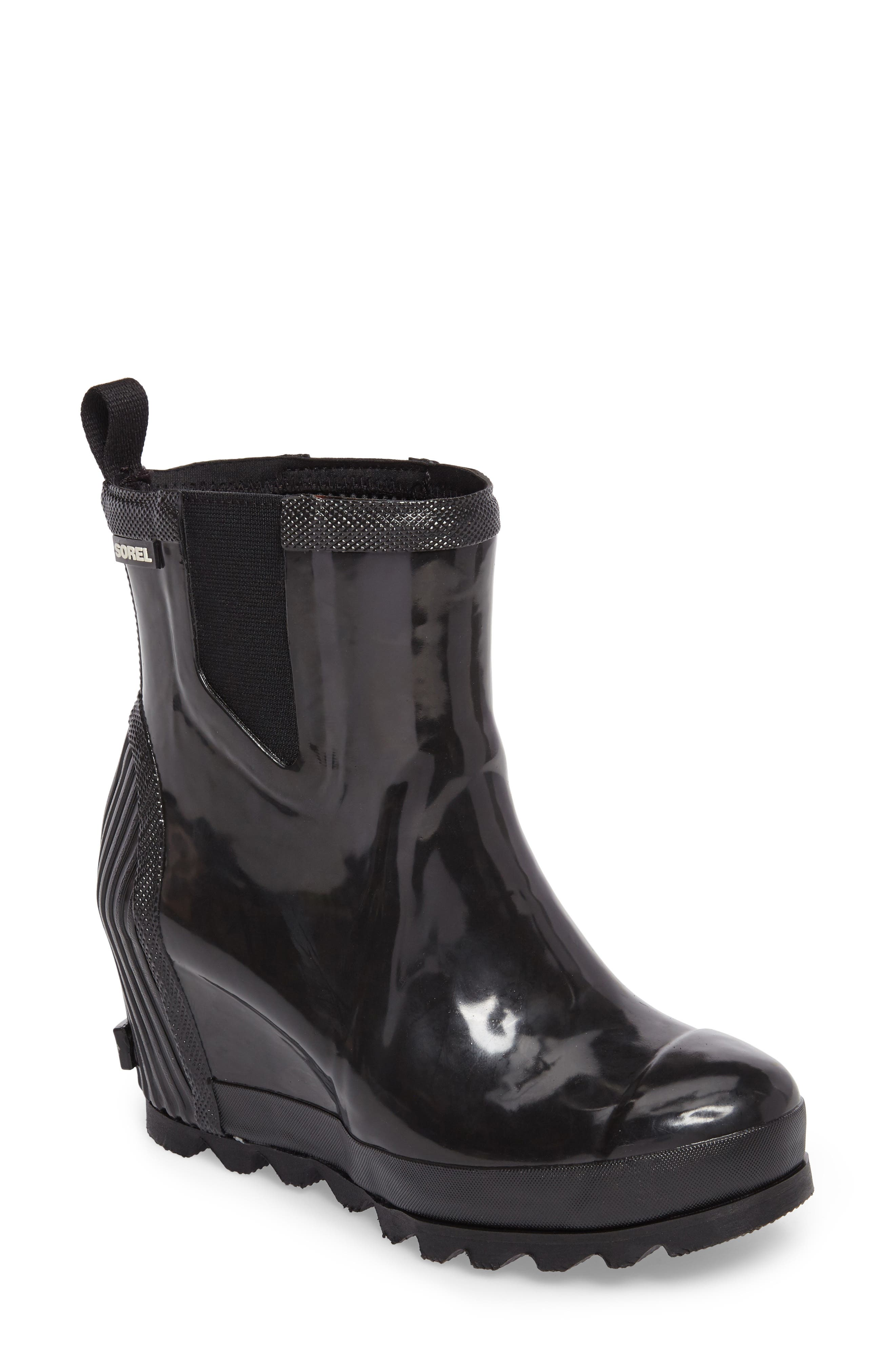 Joan Glossy Wedge Rain Boot,                         Main,                         color, Black/ Sea Salt