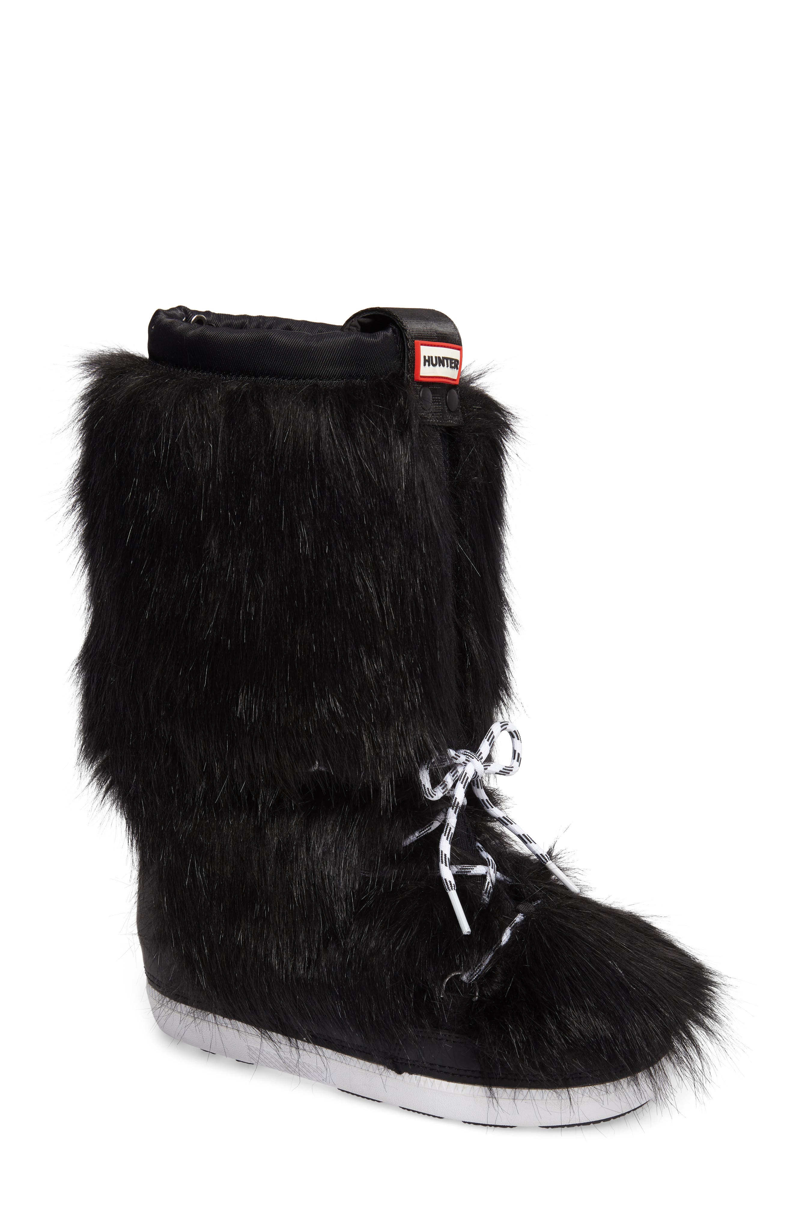 Snow Original Faux Fur Boot,                             Main thumbnail 1, color,                             Black
