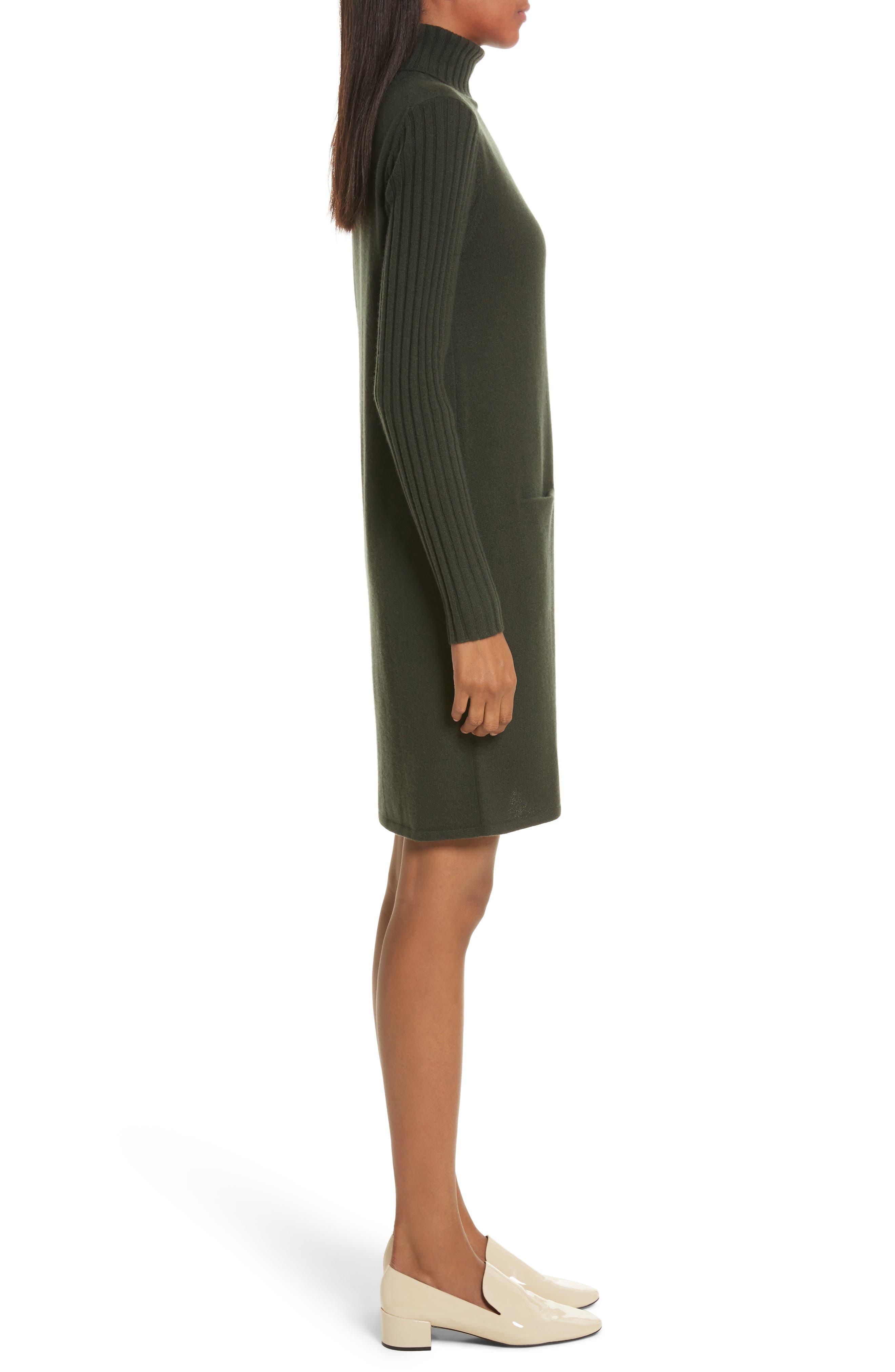 Cashmere Turtleneck Sweater Dress,                             Alternate thumbnail 3, color,                             Dark Olive