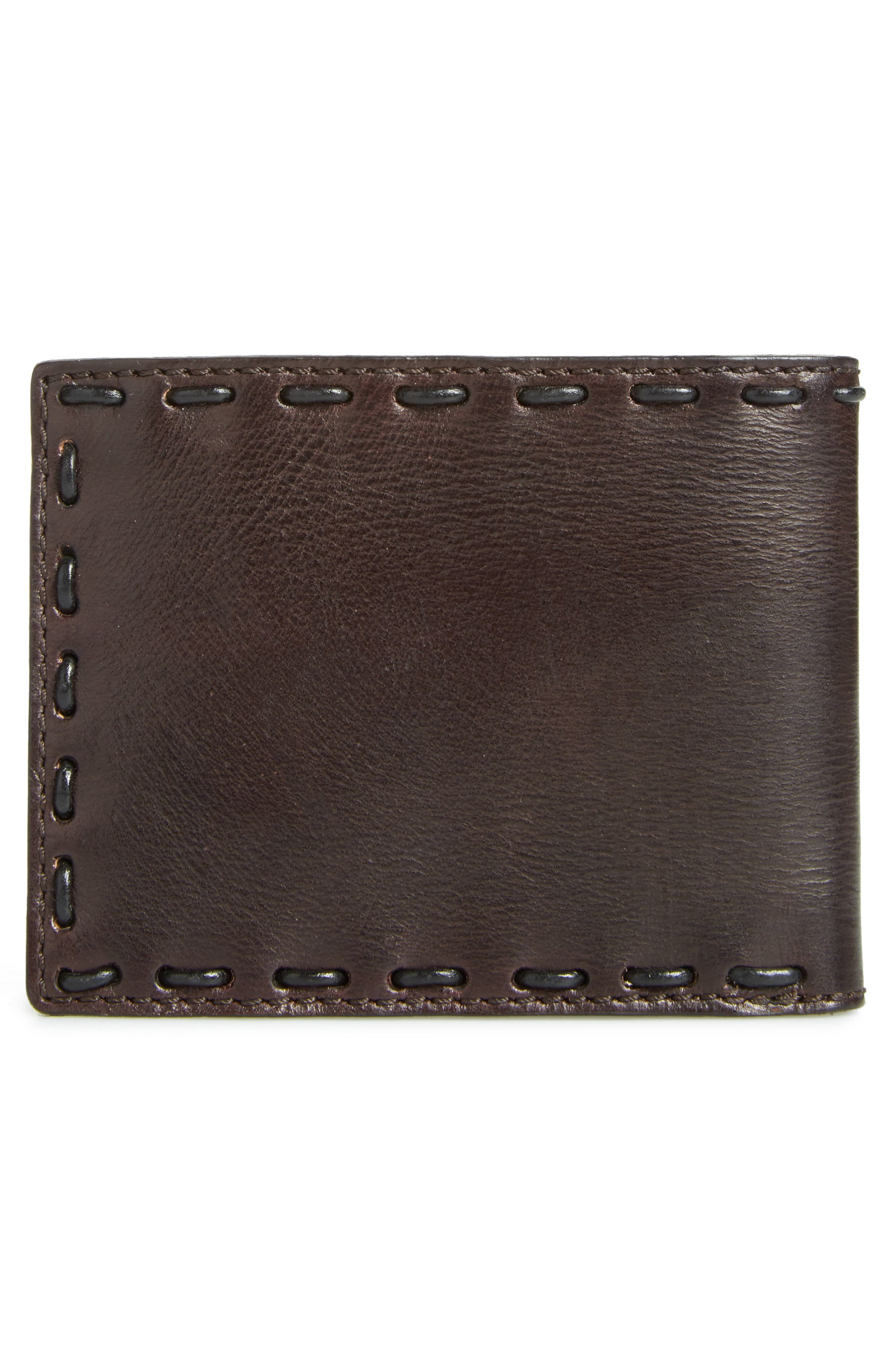 Pickstitch Leather Bifold Wallet,                             Alternate thumbnail 3, color,                             Chocolate