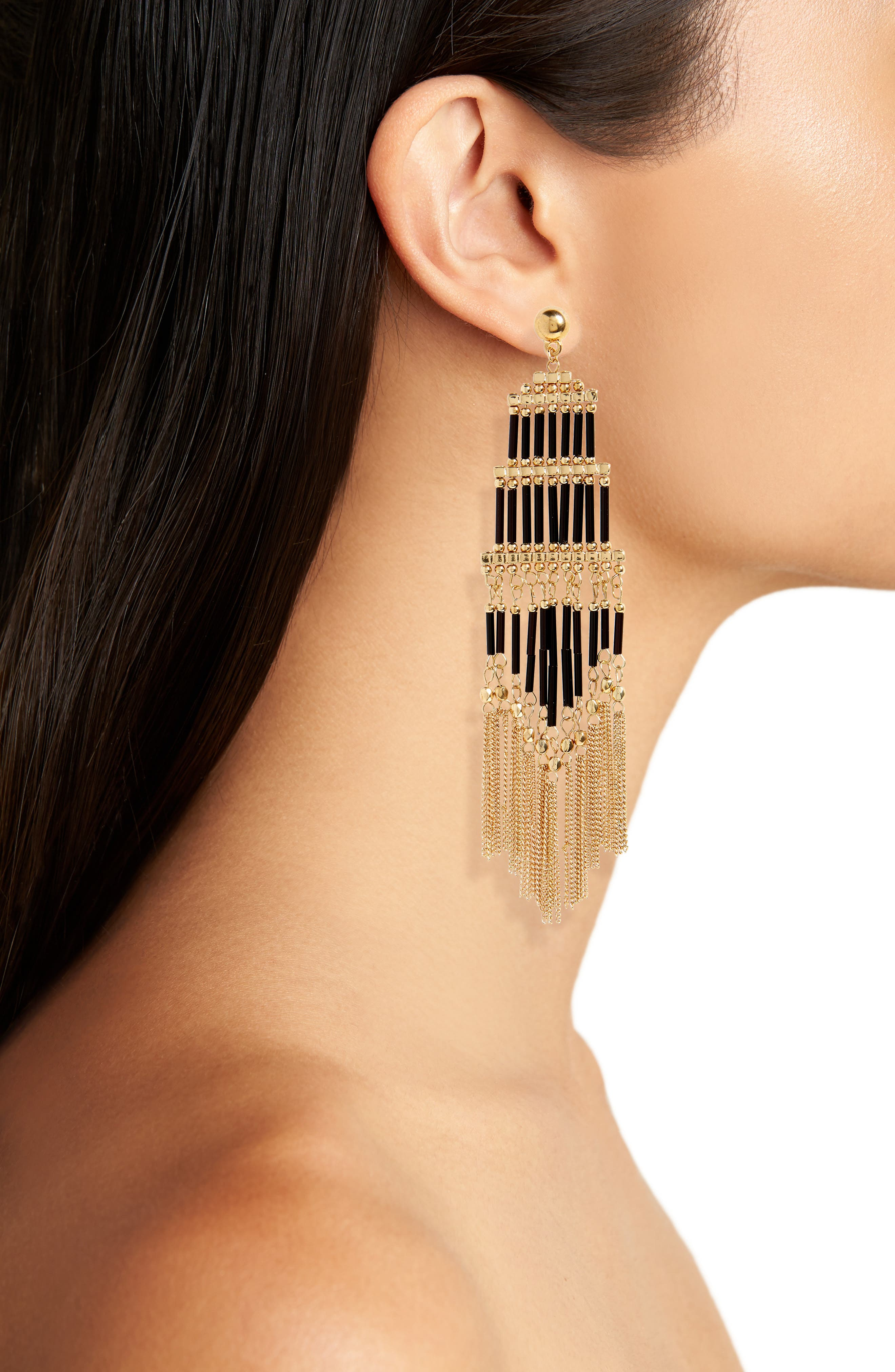 Alternate Image 2  - Natasha Beaded Fringe Drop Earrings