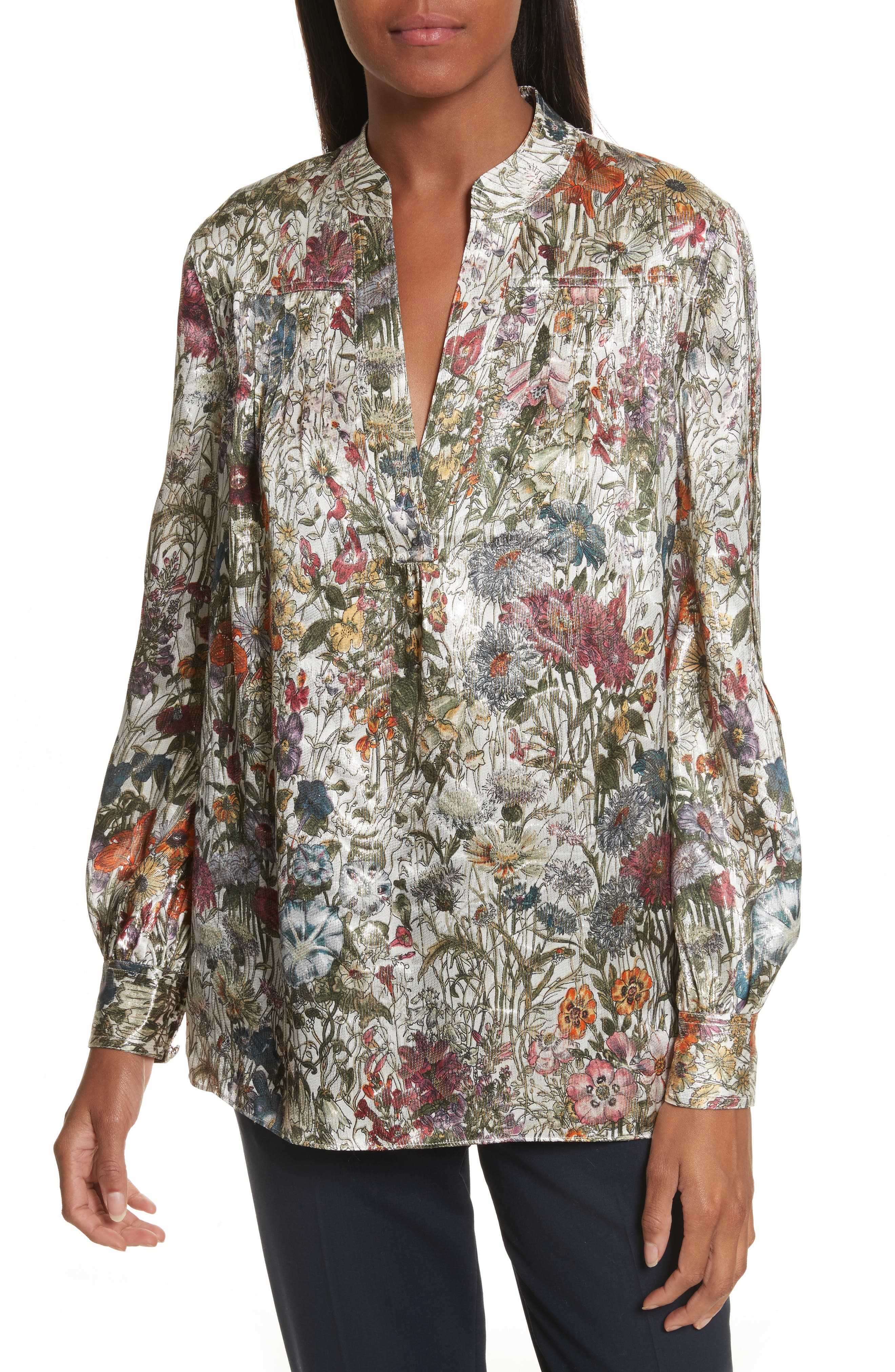 Heidi Metallic Floral Blouse,                             Main thumbnail 1, color,                             Melody Floral