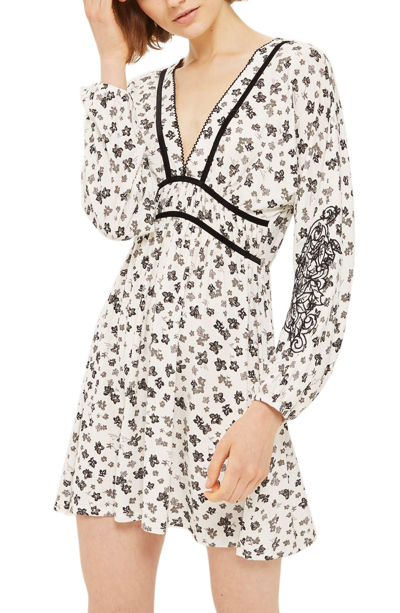 Topshop Floral Embroidered Tea Dress