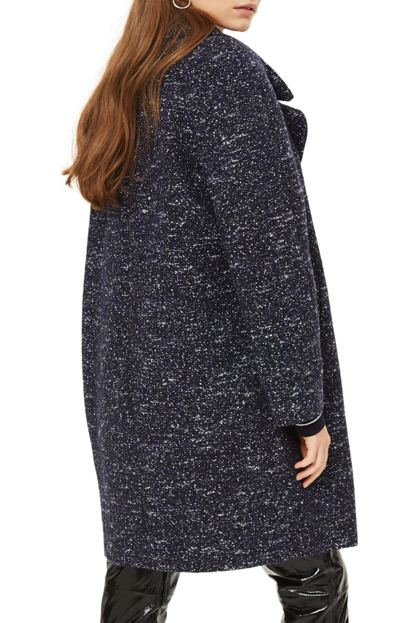 Bouclé Cocoon Coat,                             Alternate thumbnail 3, color,                             Navy Blue Multi