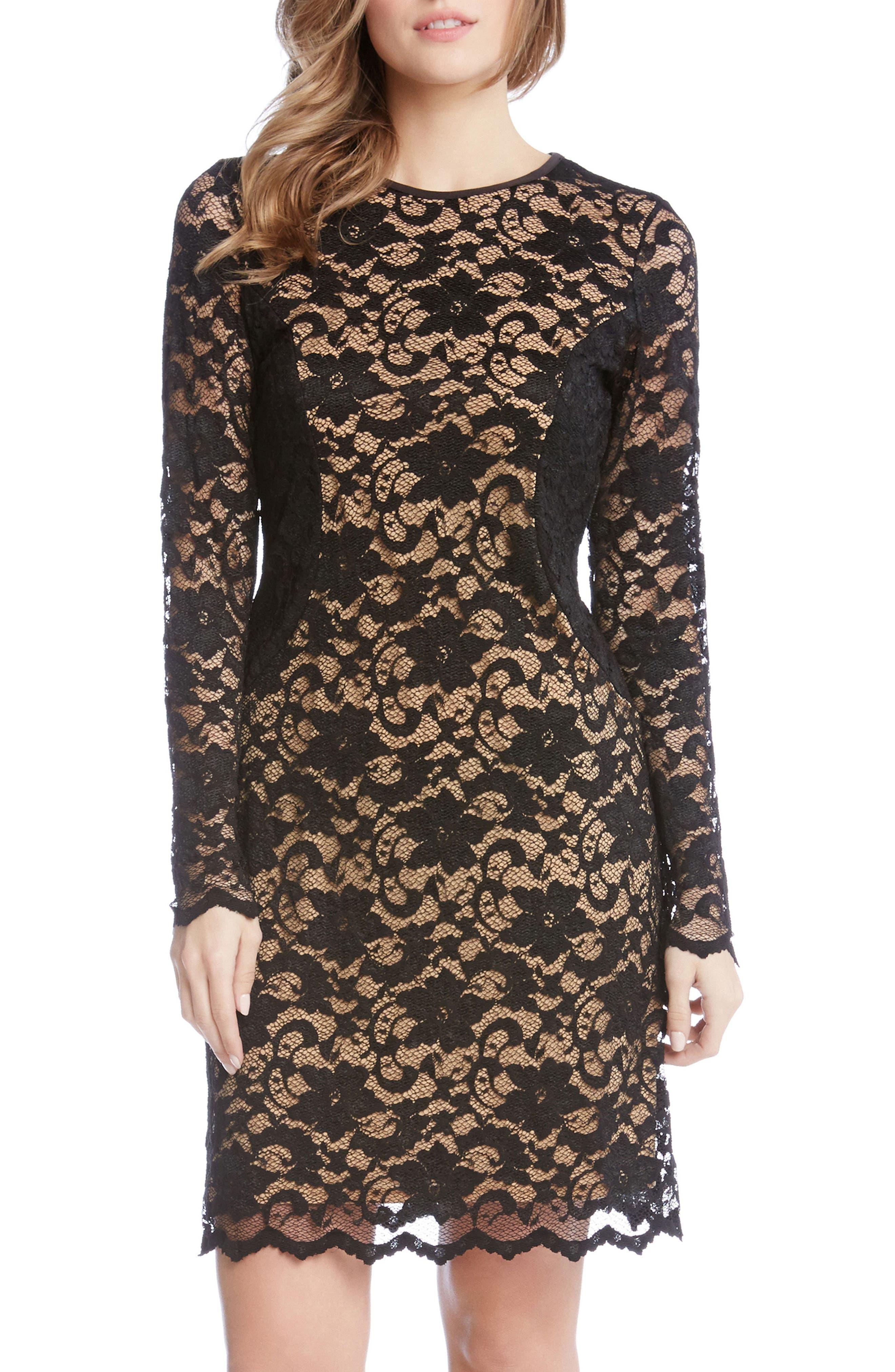 Alternate Image 1 Selected - Karen Kane Contrast Side Lace Sheath Dress