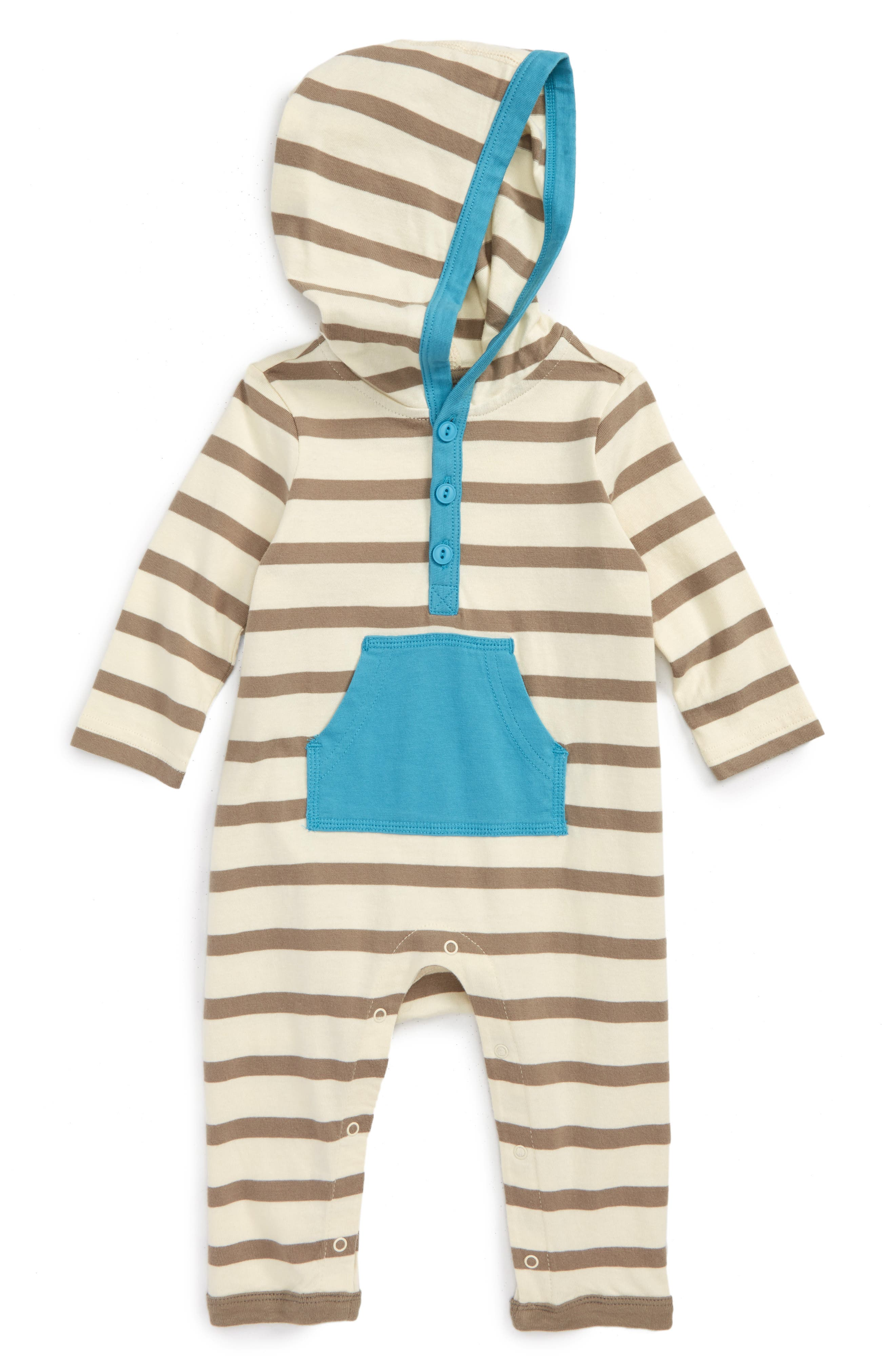 Alternate Image 1 Selected - Tea Collection Fyne Hooded Romper (Baby Boys)