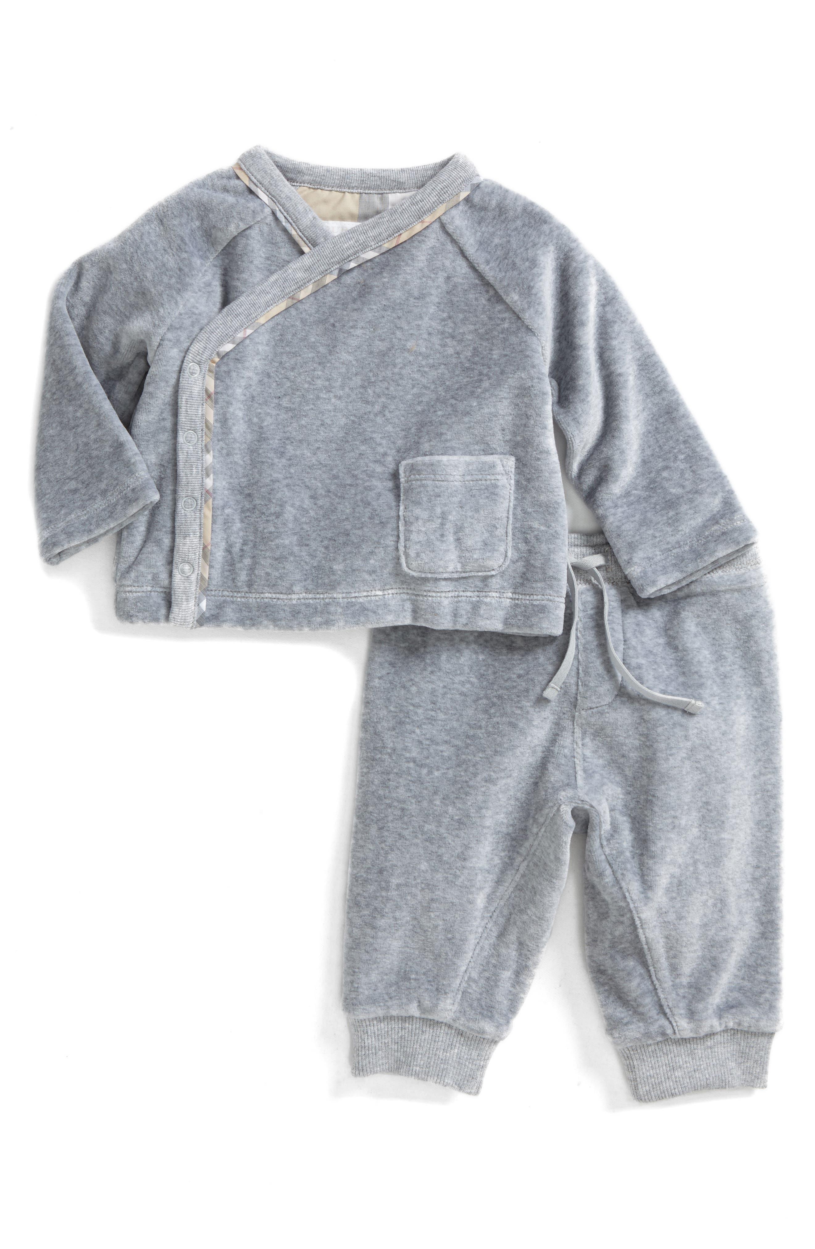 Main Image - Burberry Remy Shirt & Pants Set (Baby Boys)