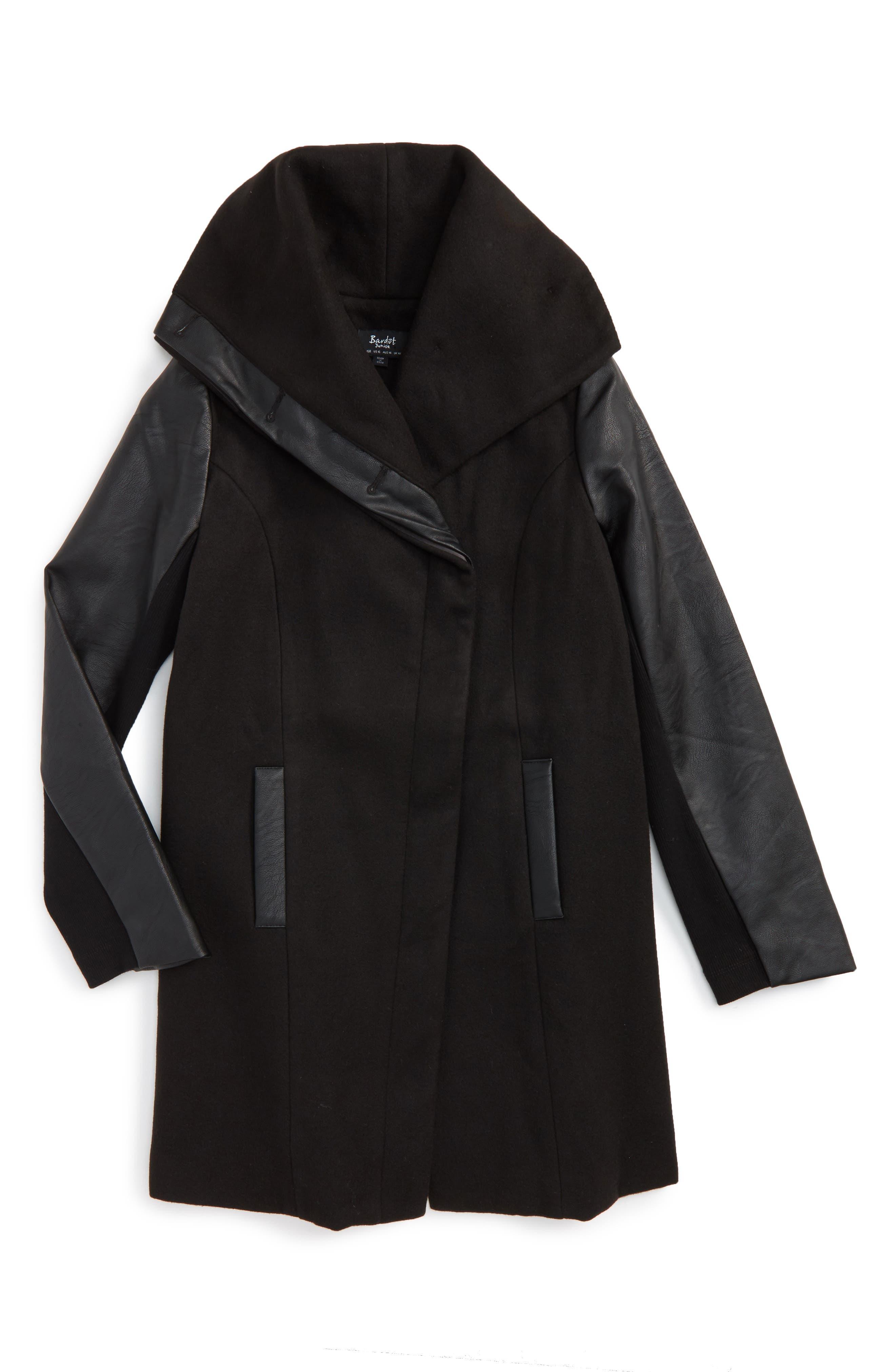 Raven Hooded Coat,                         Main,                         color, Black