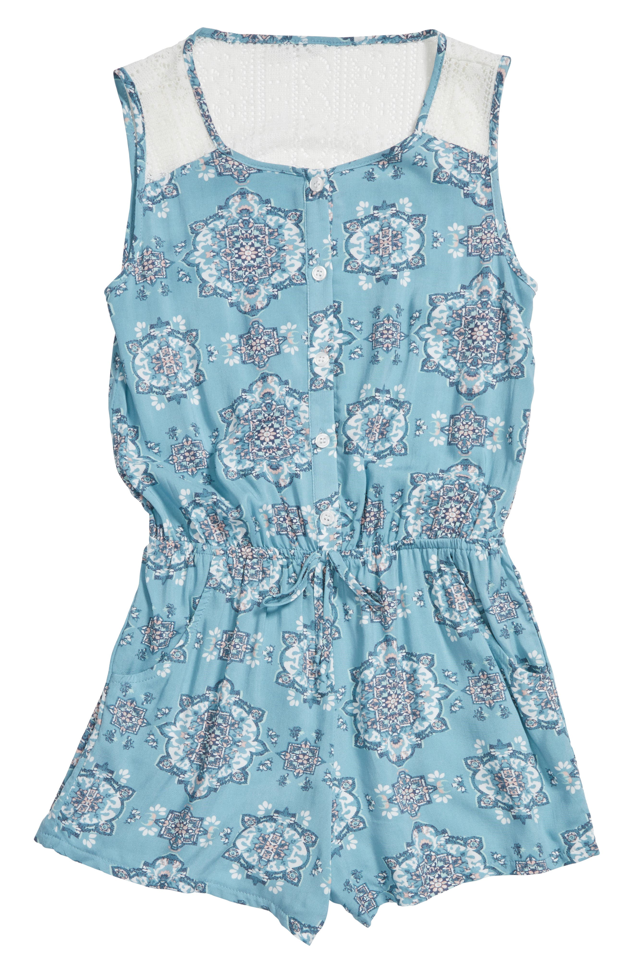 Alternate Image 1 Selected - Mia Chica Lace Back Romper (Big Girls)