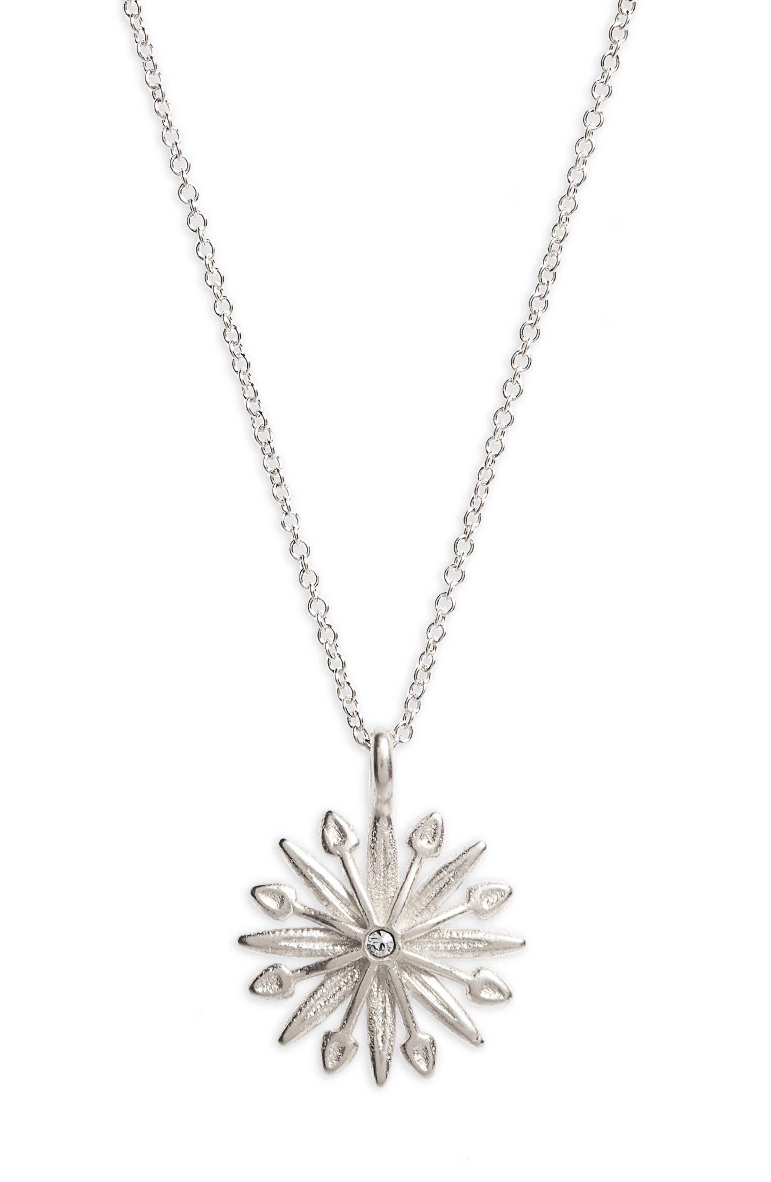 Starburst Charm Pendant Necklace,                             Alternate thumbnail 3, color,                             Silver