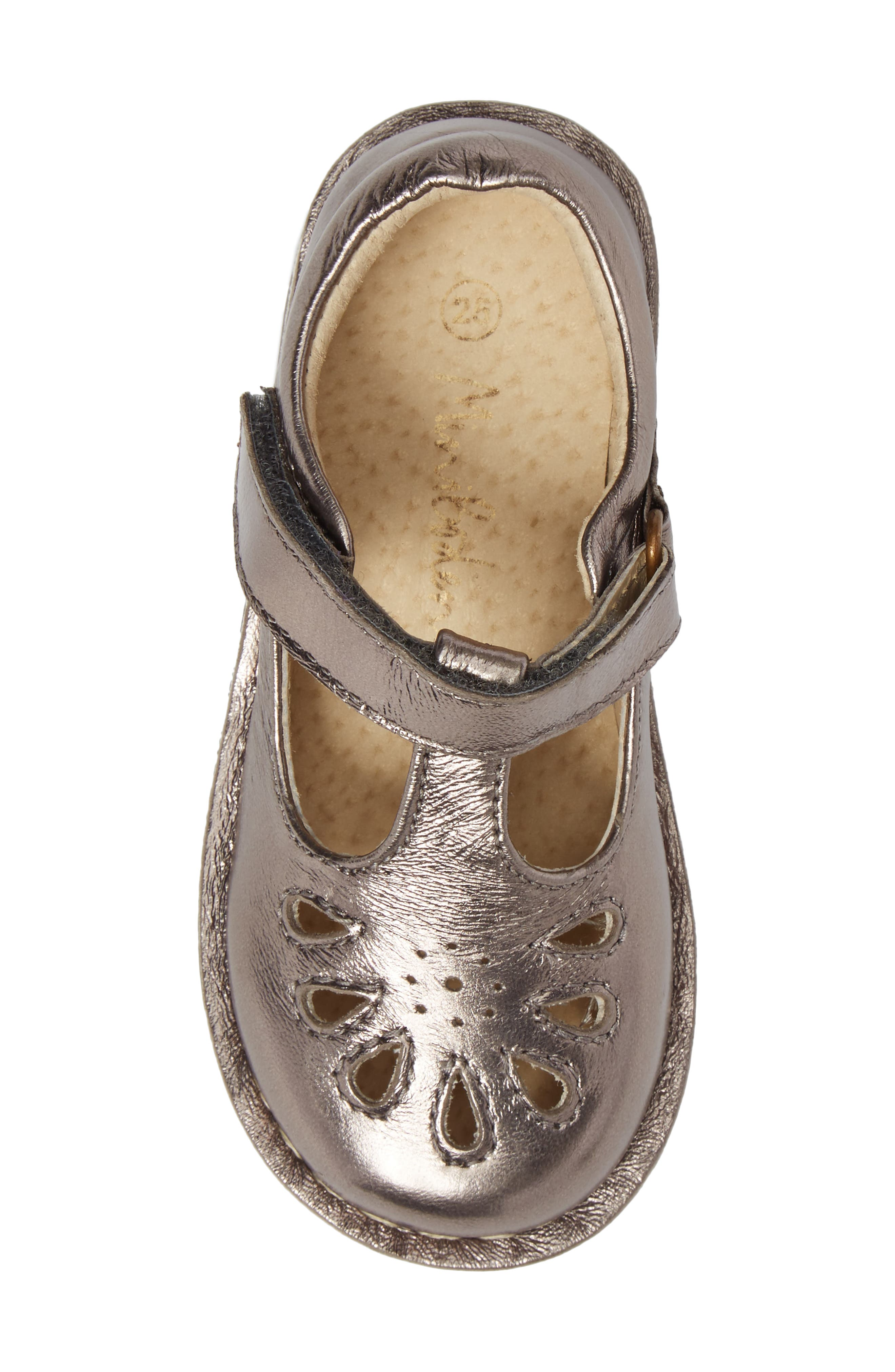 Perforated T-Strap Mary Jane,                             Alternate thumbnail 5, color,                             Pewter Metallic