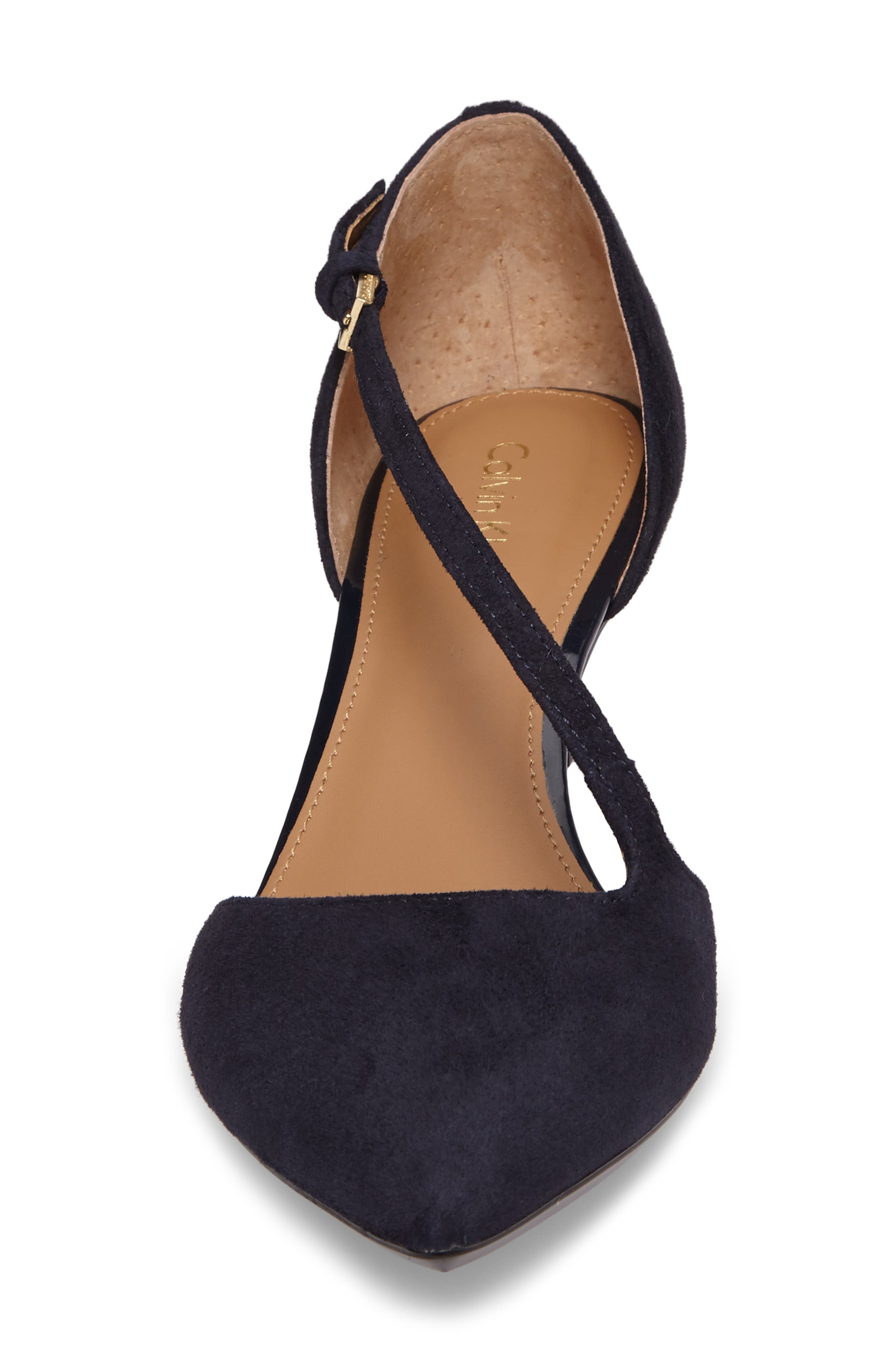 Page Pointy Toe Pump,                             Alternate thumbnail 4, color,                             Deep Navy Suede