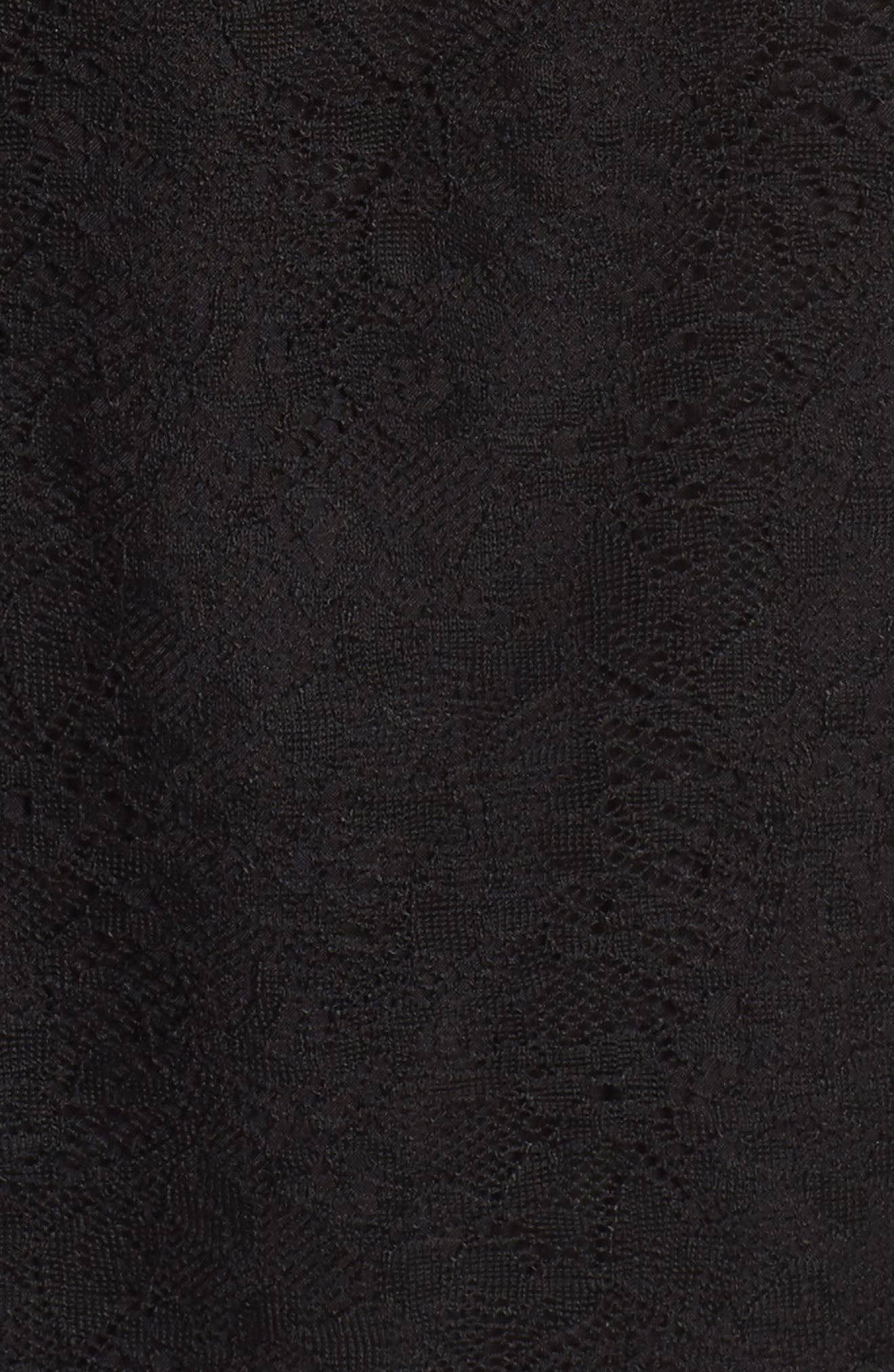 Ruffle Lace Top,                             Alternate thumbnail 6, color,                             Black