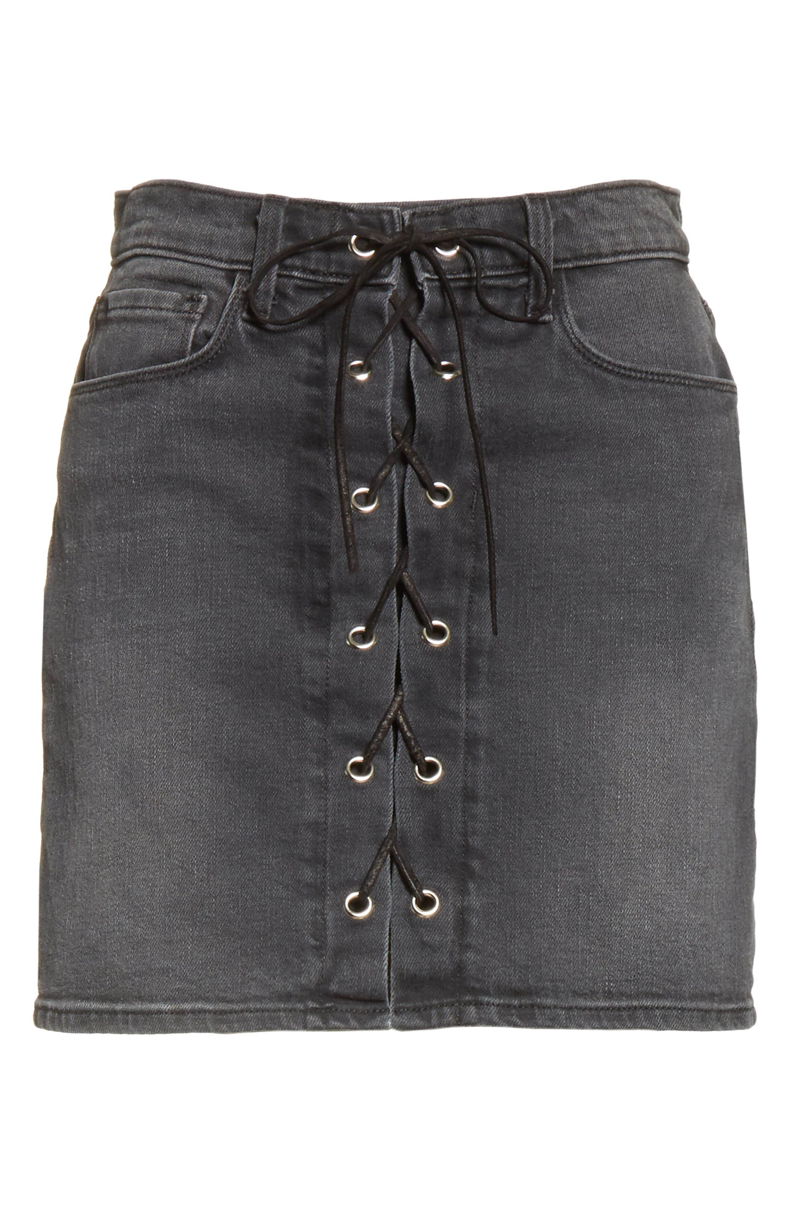 Alternate Image 7  - L'AGENCE Portia Lace Up Denim Skirt
