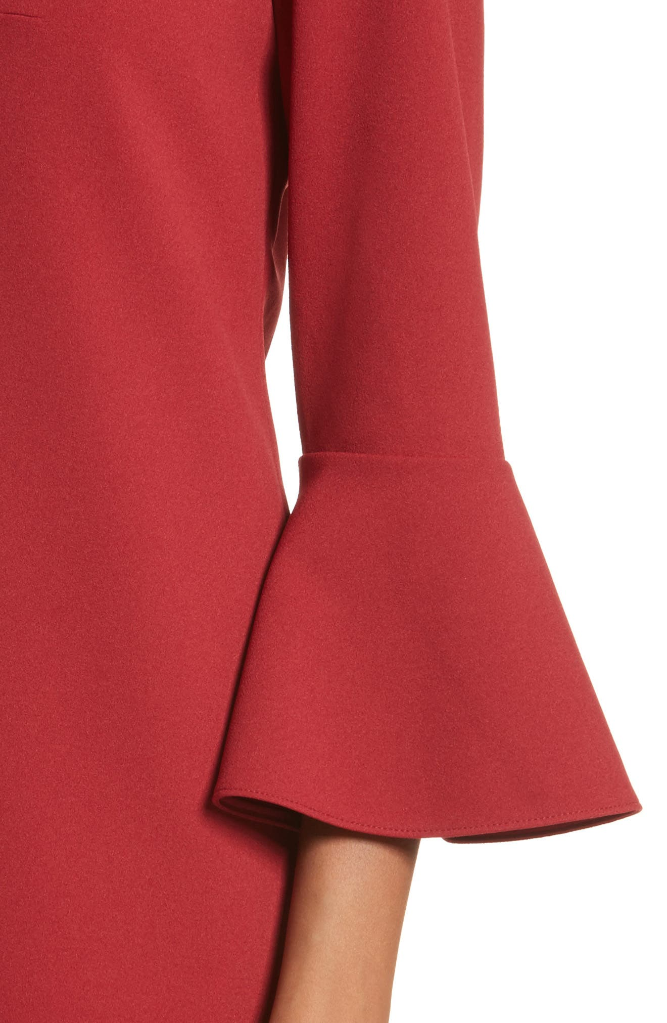 Bell Cuff Stretch Crepe Dress,                             Alternate thumbnail 4, color,                             Burnt Red