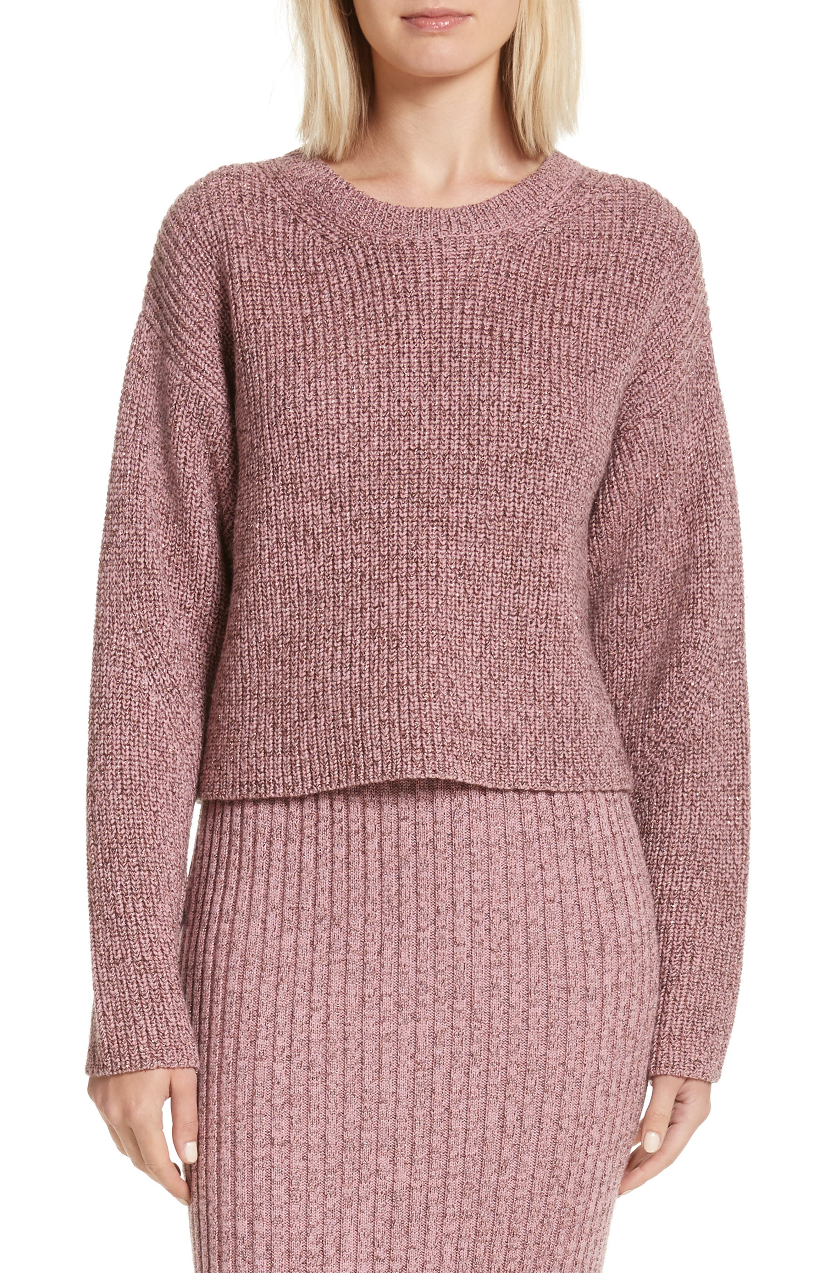 Leyton Metallic Knit Merino Wool Blend Sweater,                         Main,                         color, Dusty Rose