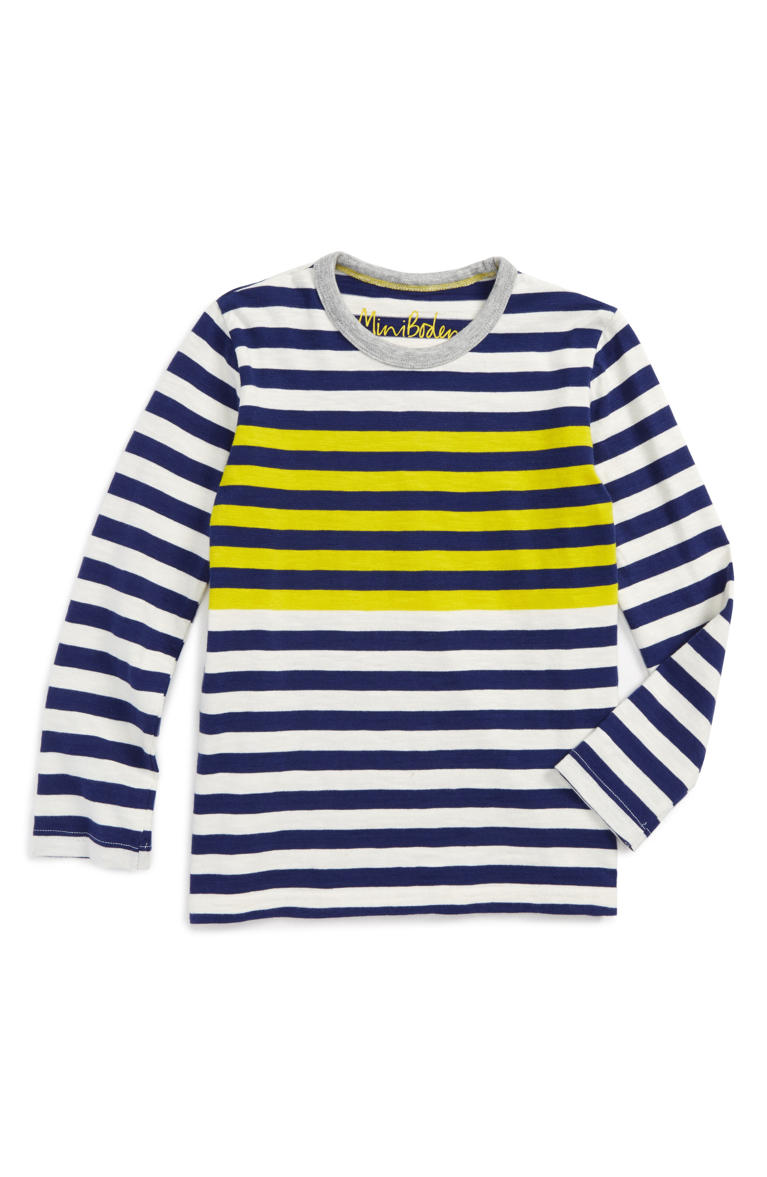 Stripe Long Sleeve T-Shirt,                             Main thumbnail 1, color,                             Ecru/ Space Blue
