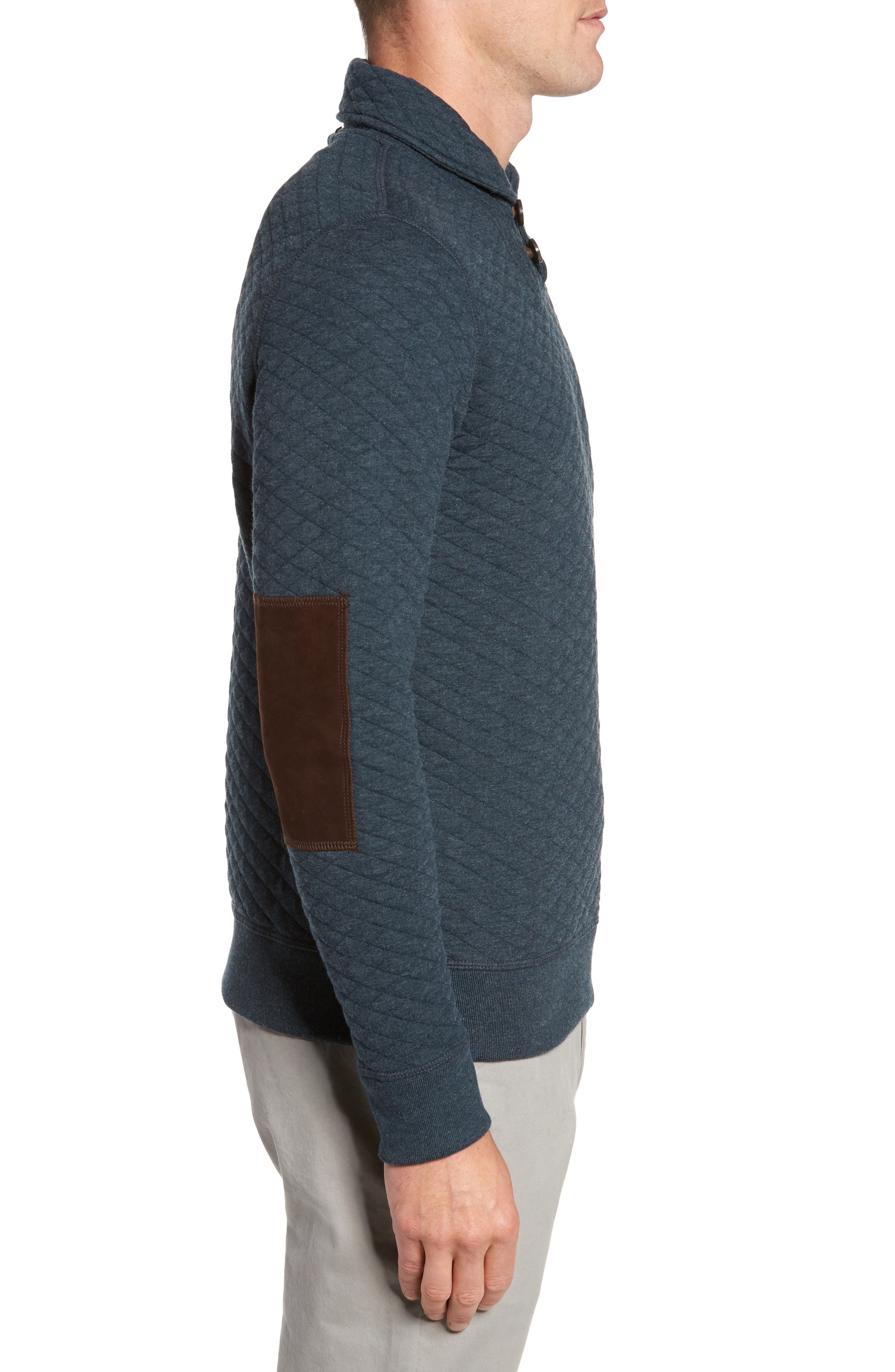 Shawl Collar Pullover,                             Alternate thumbnail 3, color,                             Carbon Blue