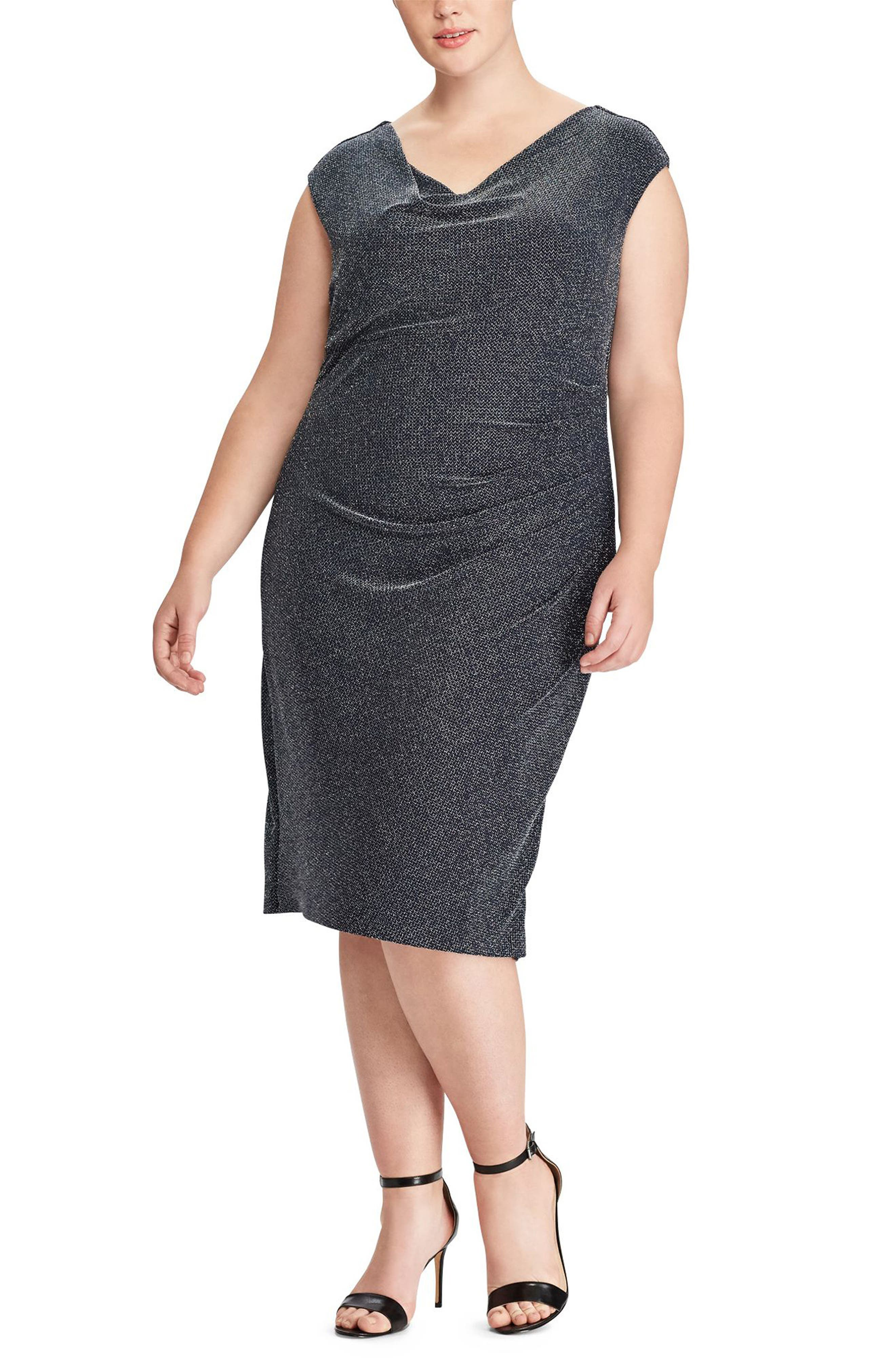 Main Image - Lauren Ralph Lauren Valli Metallic Knit Dress (Plus Size)