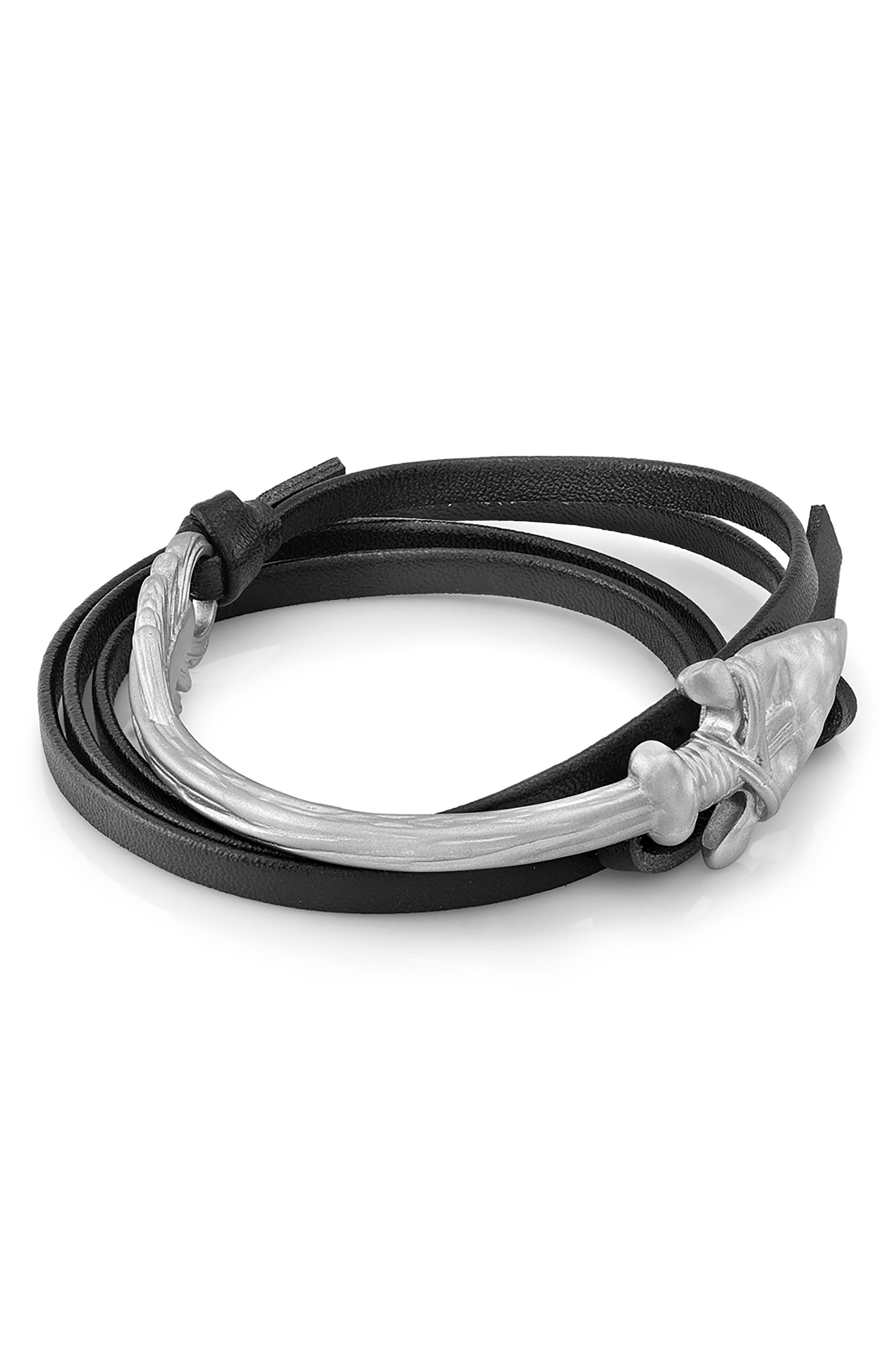 Arrow Leather Wrap Bracelet,                         Main,                         color, Silver/ Black