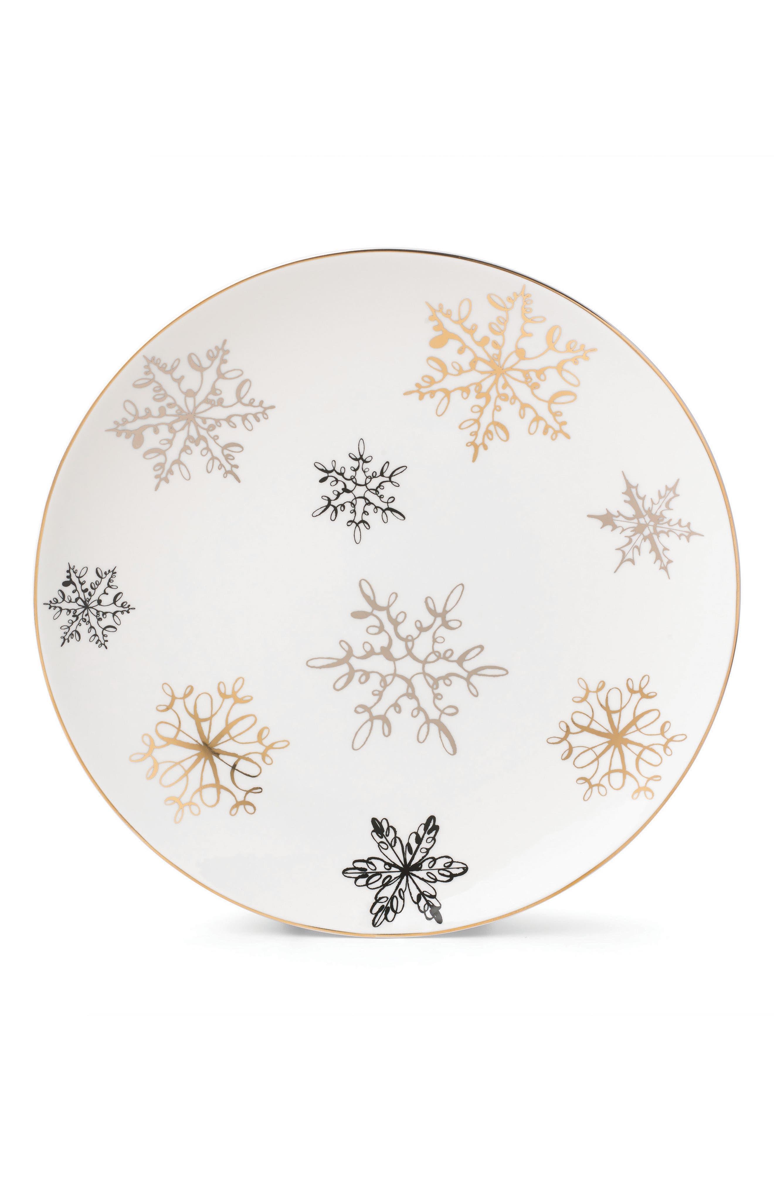 Alternate Image 1 Selected - kate spade new york snowflake decorative porcelain tray