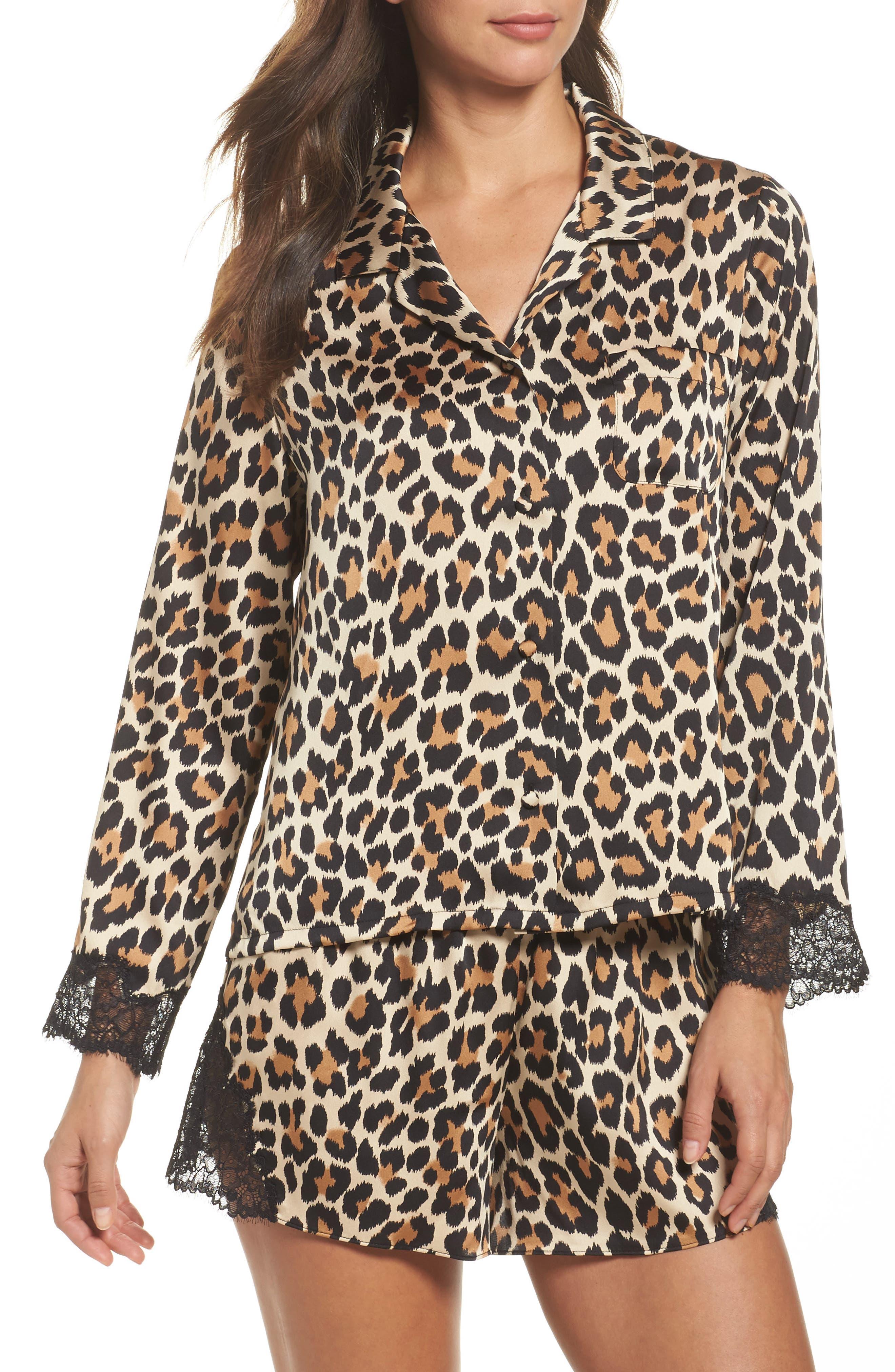charmeuse short pajamas,                         Main,                         color, Brown Animal