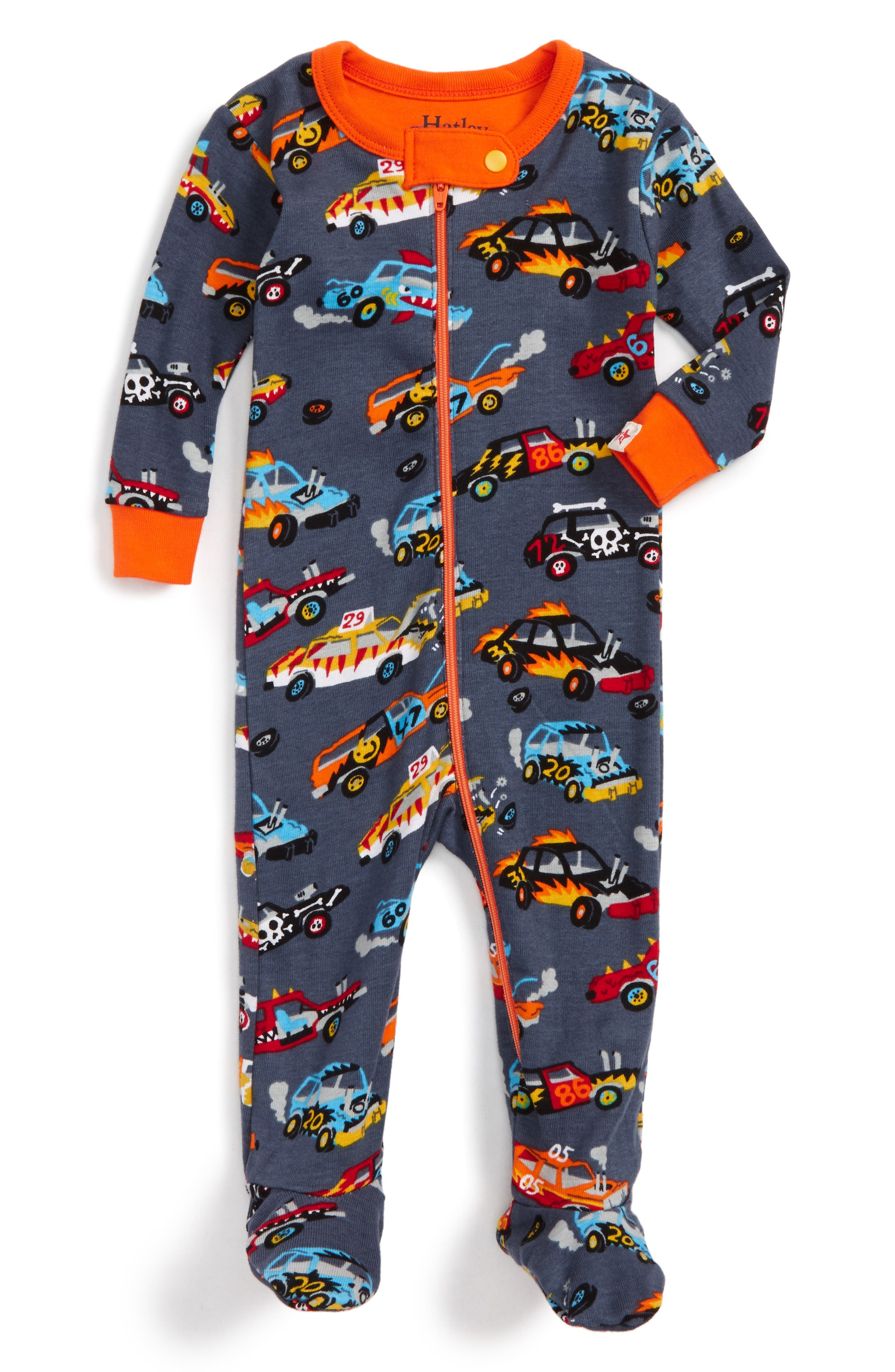 Organic Cotton Fitted One-Piece Pajamas,                         Main,                         color, Monster Cars