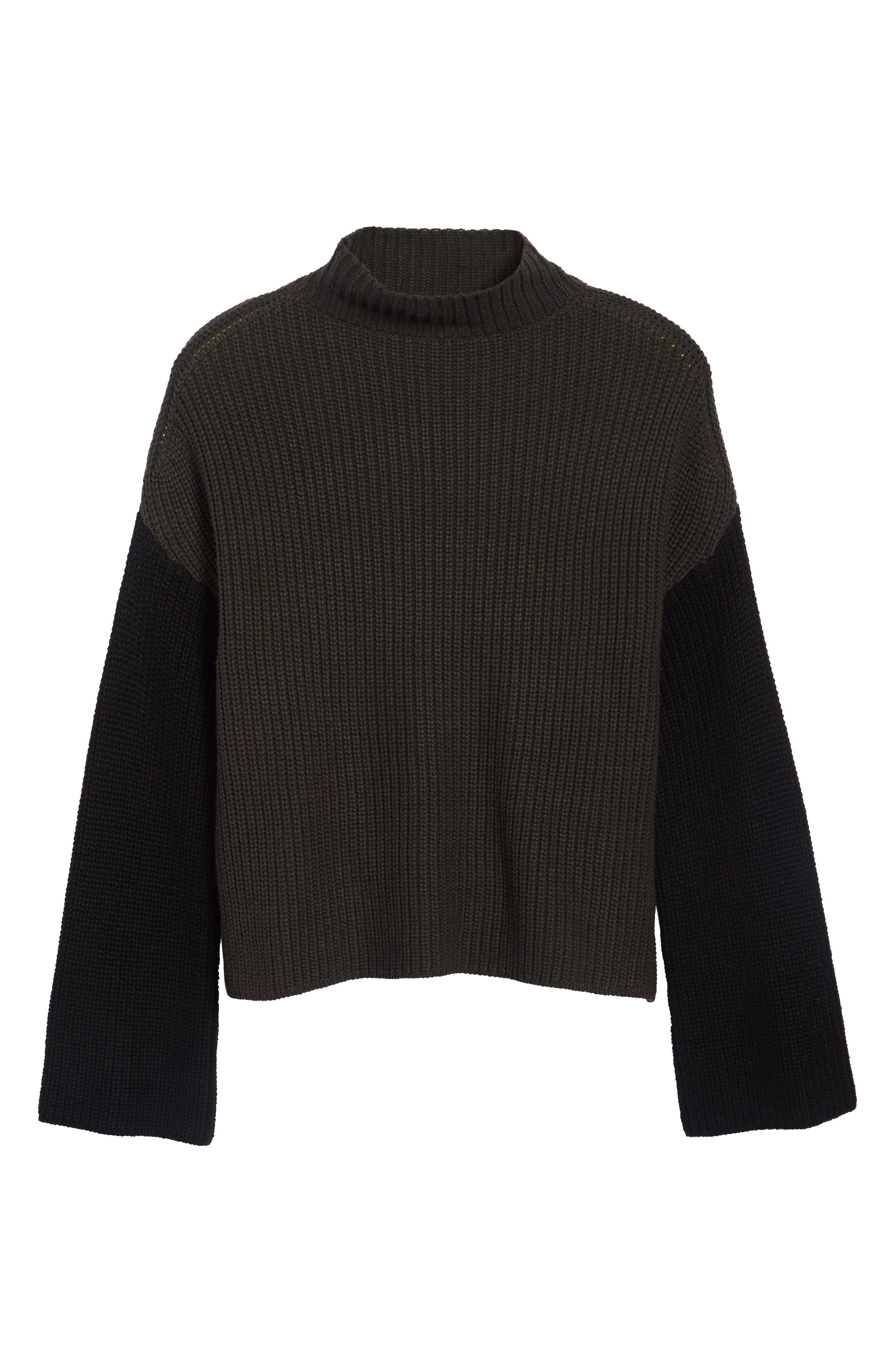 Colorblock Mock Turtleneck,                             Alternate thumbnail 6, color,                             Grey/ Black/ Yellow