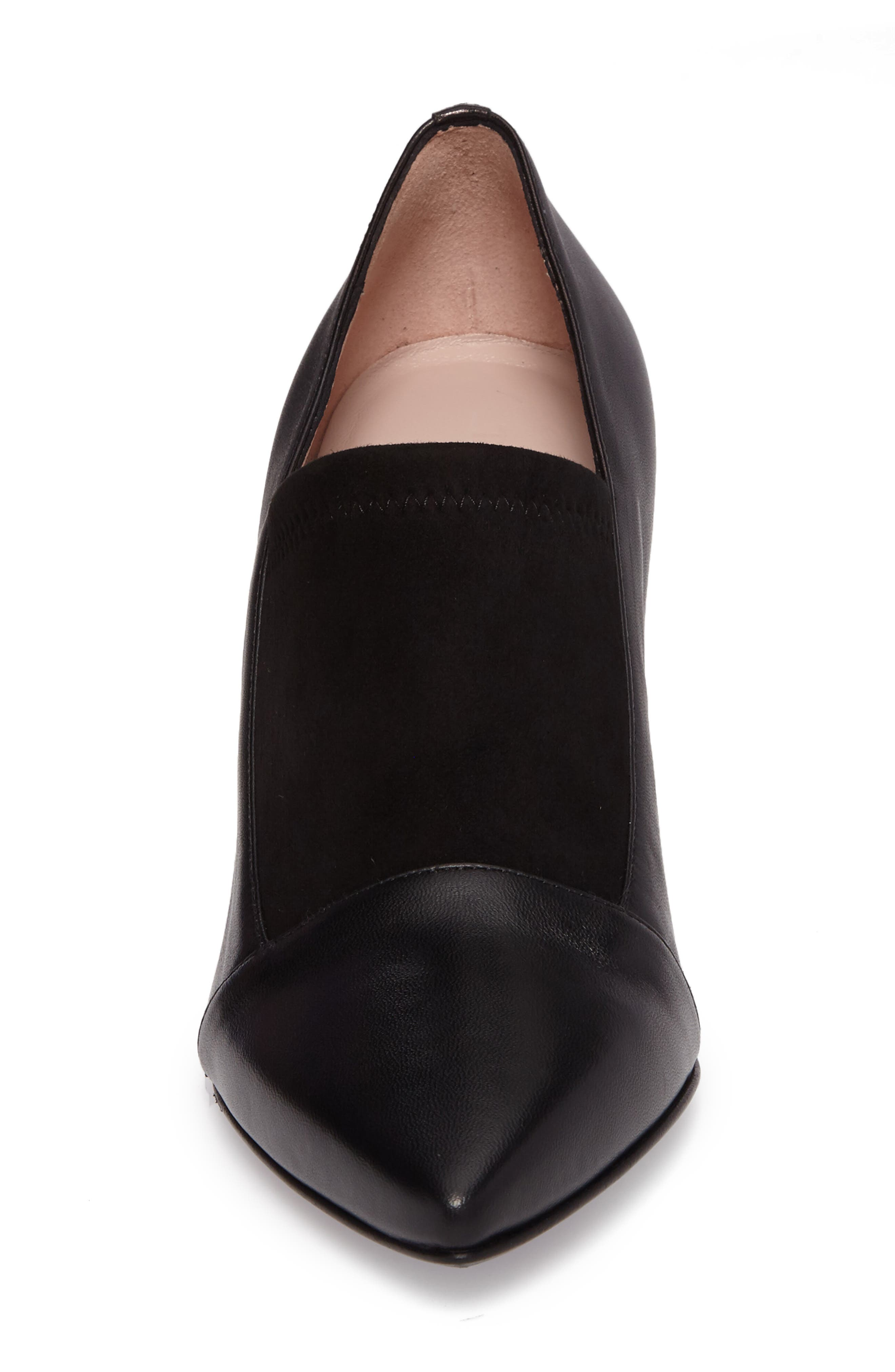 Ghita Pointy Toe Pump,                             Alternate thumbnail 4, color,                             Black Leather