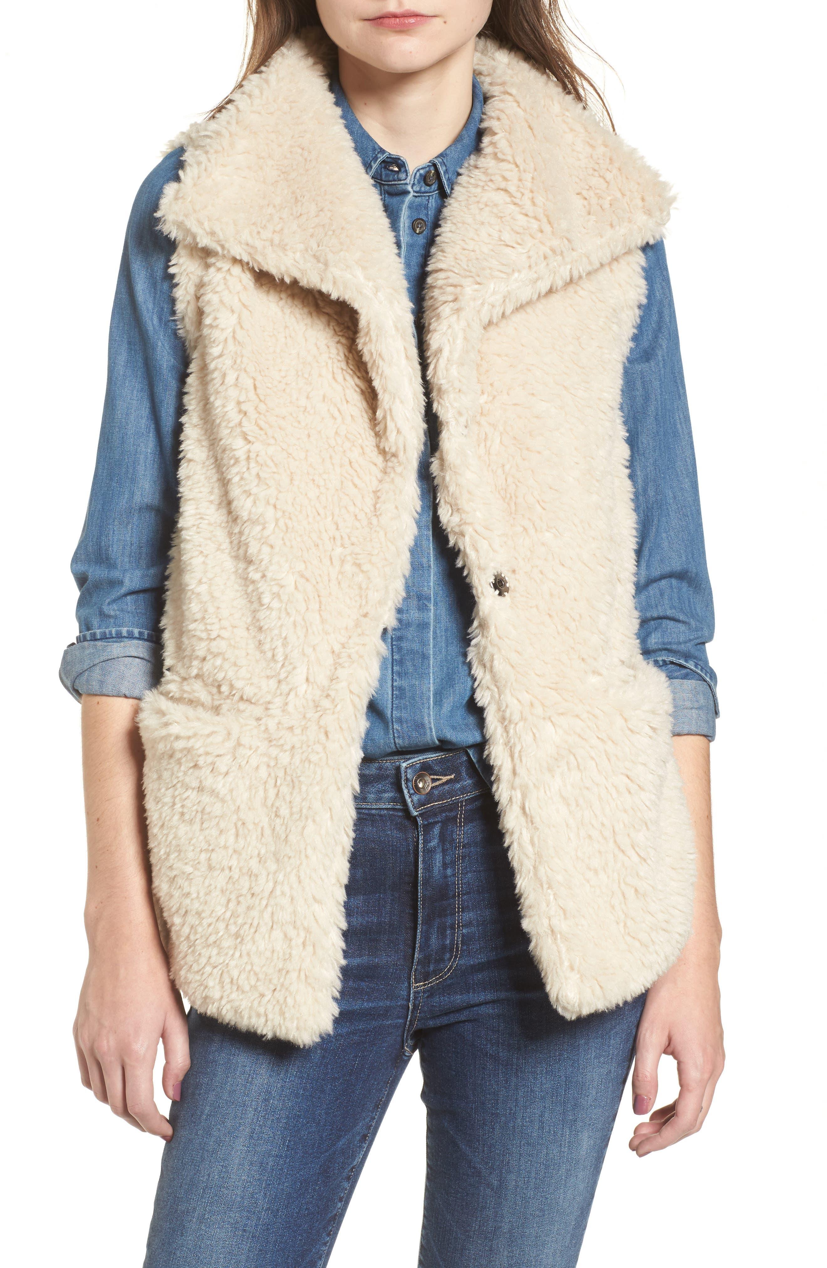 Cozy Faux Shearling Vest,                             Main thumbnail 1, color,                             Oatmeal