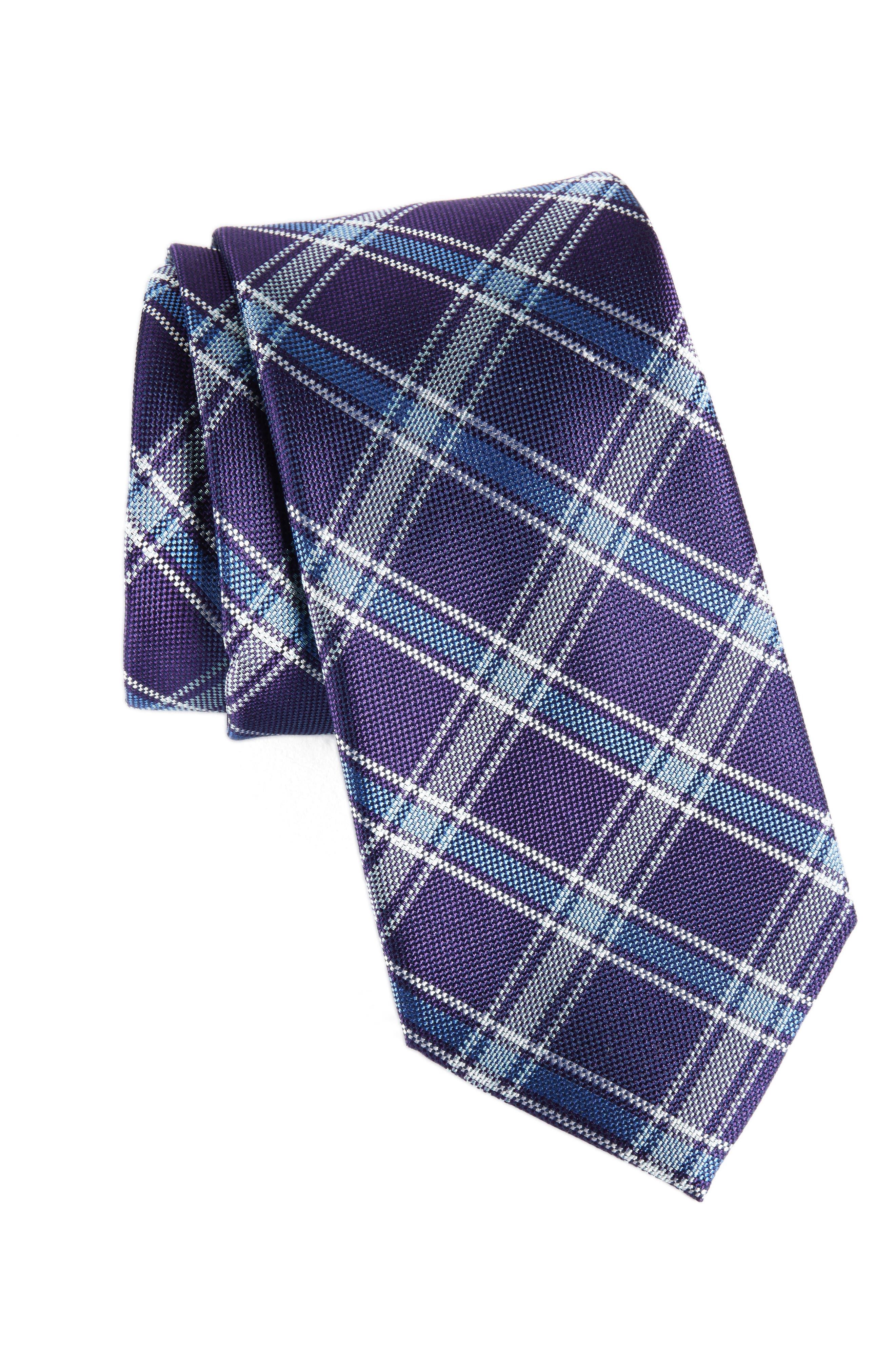 Oxford Plaid Silk Tie,                             Main thumbnail 1, color,                             Purple