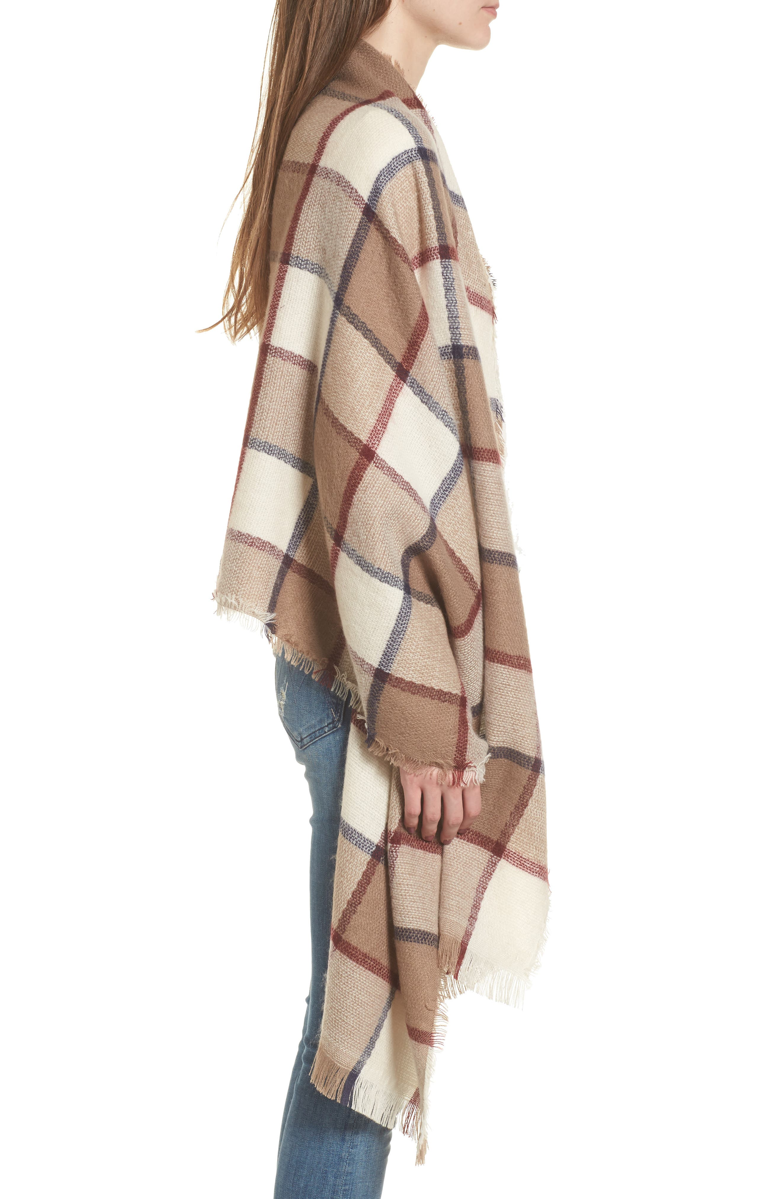 Windowpane Check Blanket Scarf,                             Alternate thumbnail 3, color,                             Ivory Combo